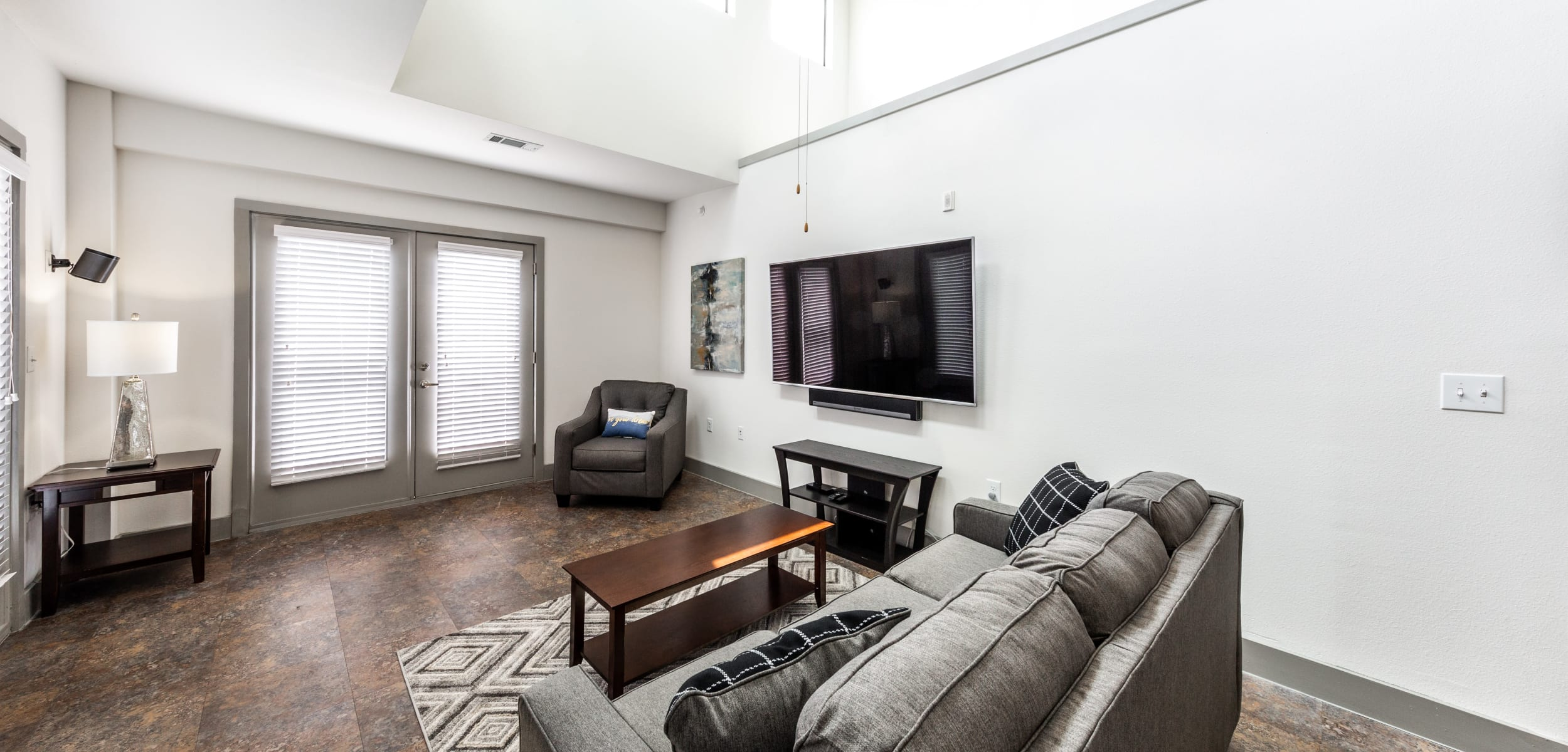 Cozy living space at Regents West at 26th in Austin, Texas