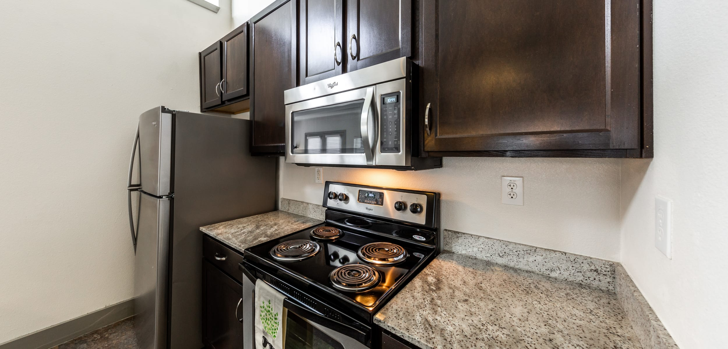 Modern kitchen at Regents West at 26th in Austin, Texas
