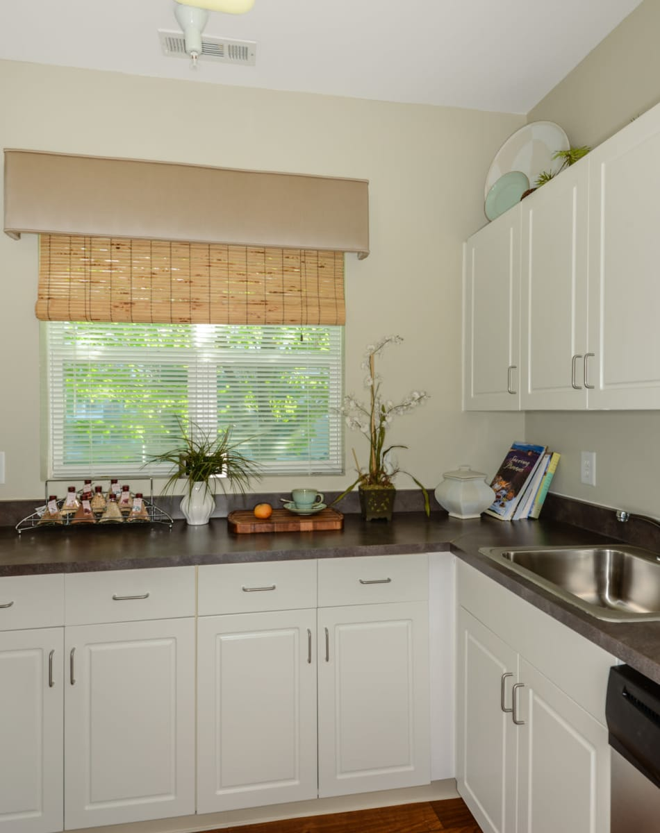 Modern kitchen with stainless steel appliances at Sofi Danvers in Danvers, Massachusetts