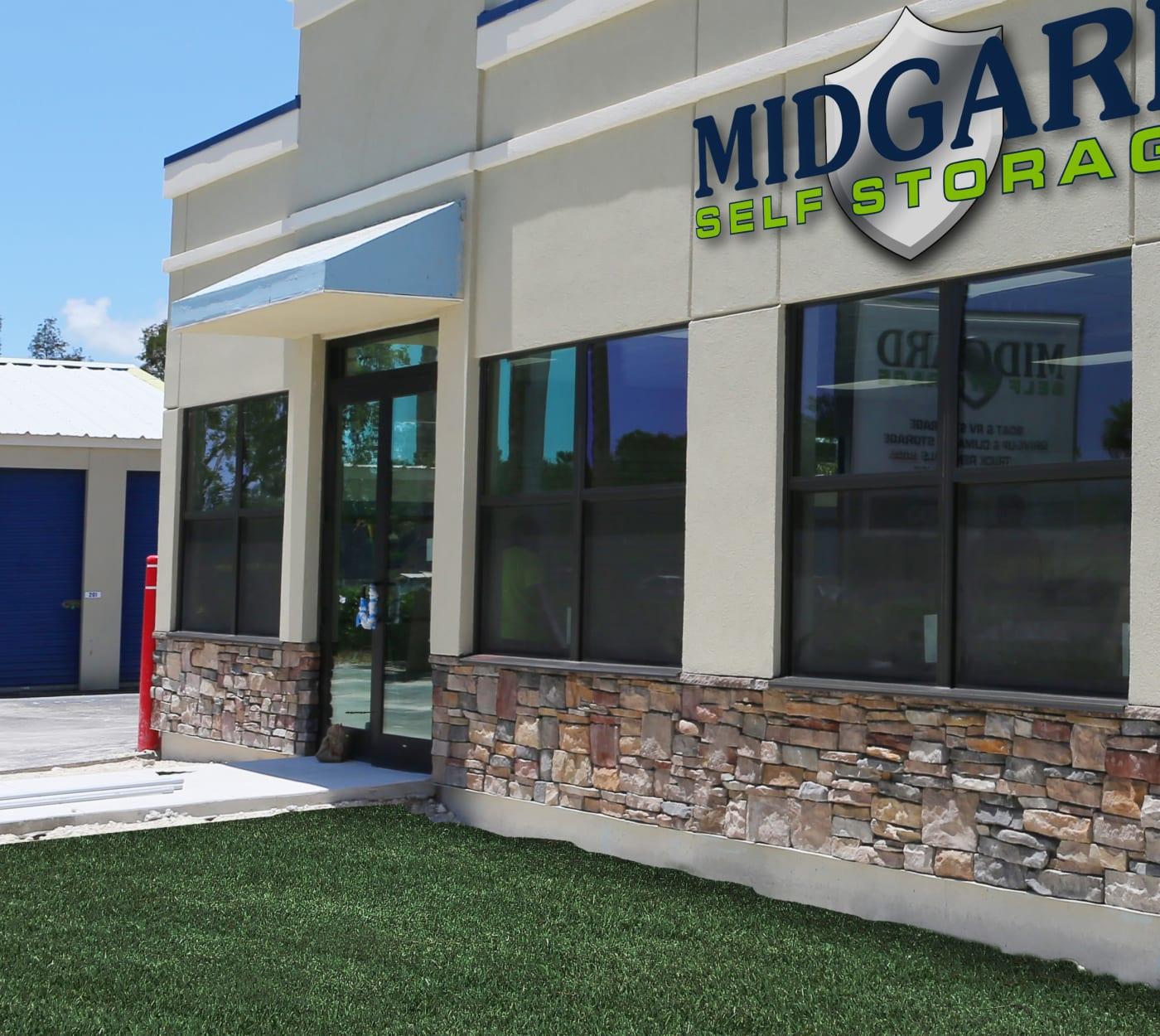Entrance gate at Midgard Self Storage in Wilmington, North Carolina