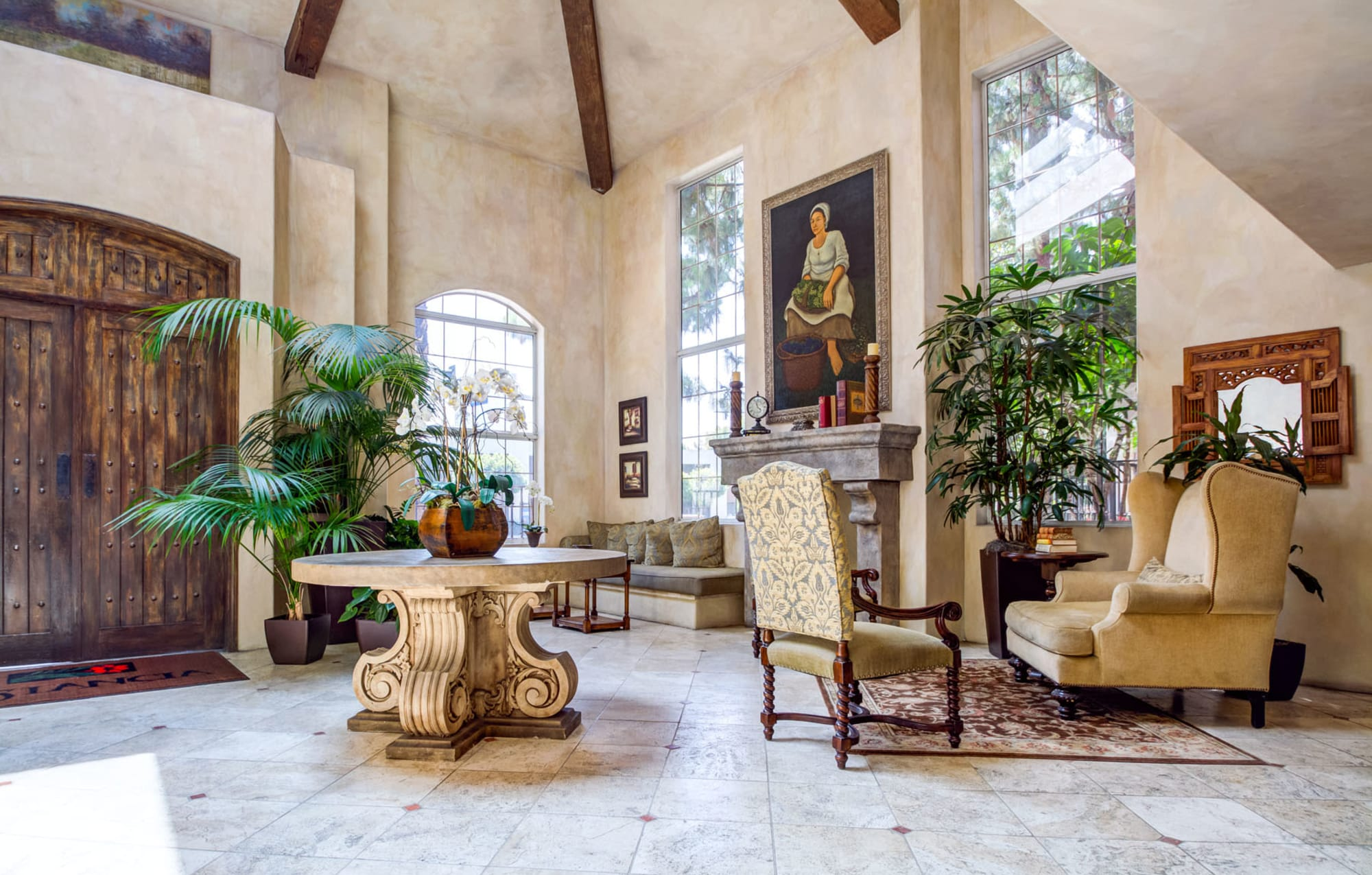 Mission-style architecture and furnishings in the lavishly decorated lobby at L'Estancia in Studio City, California