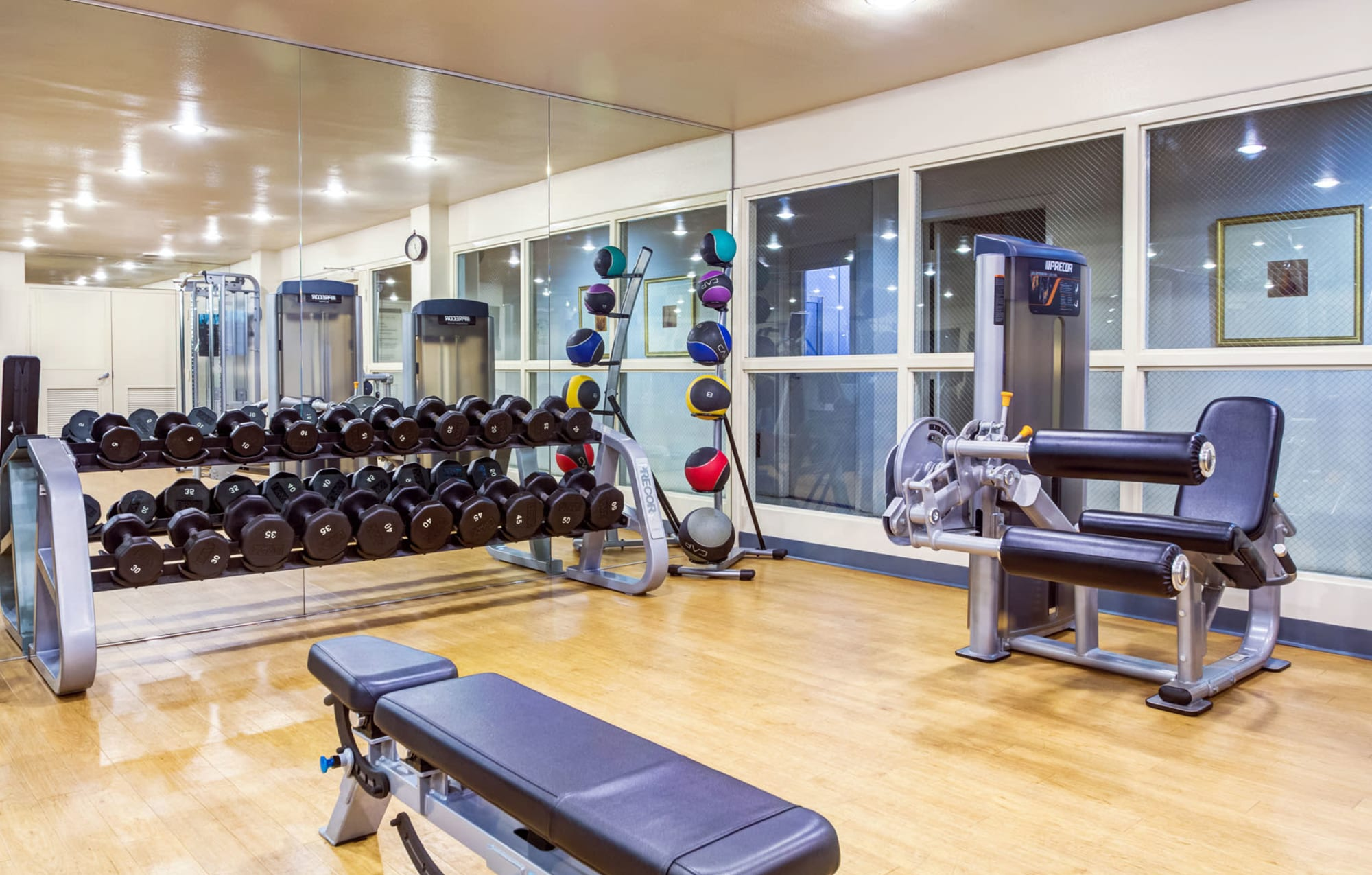 Very well-equipped fitness center at L'Estancia in Studio City, California