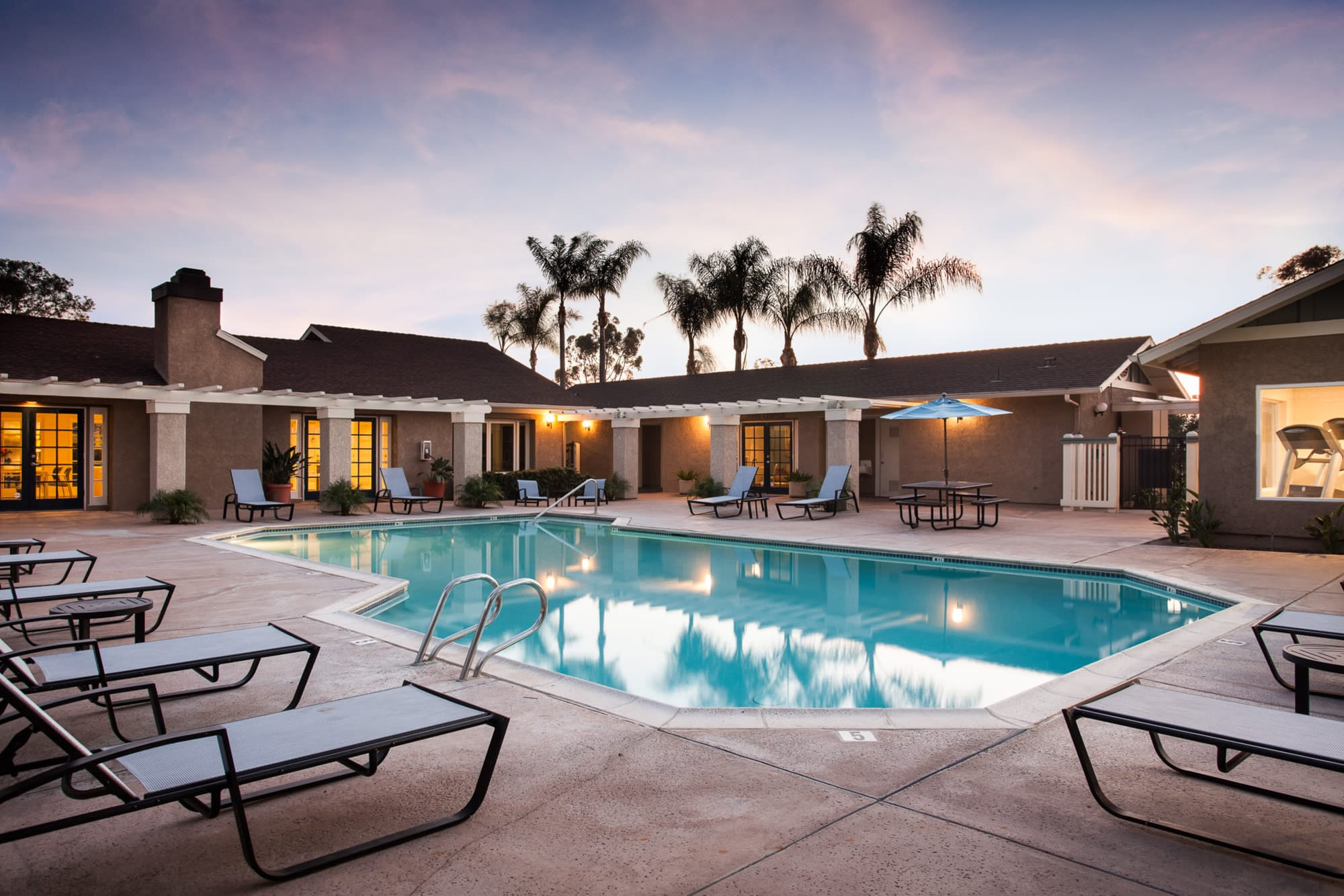 sunset pool at Lakeview Village Apartments