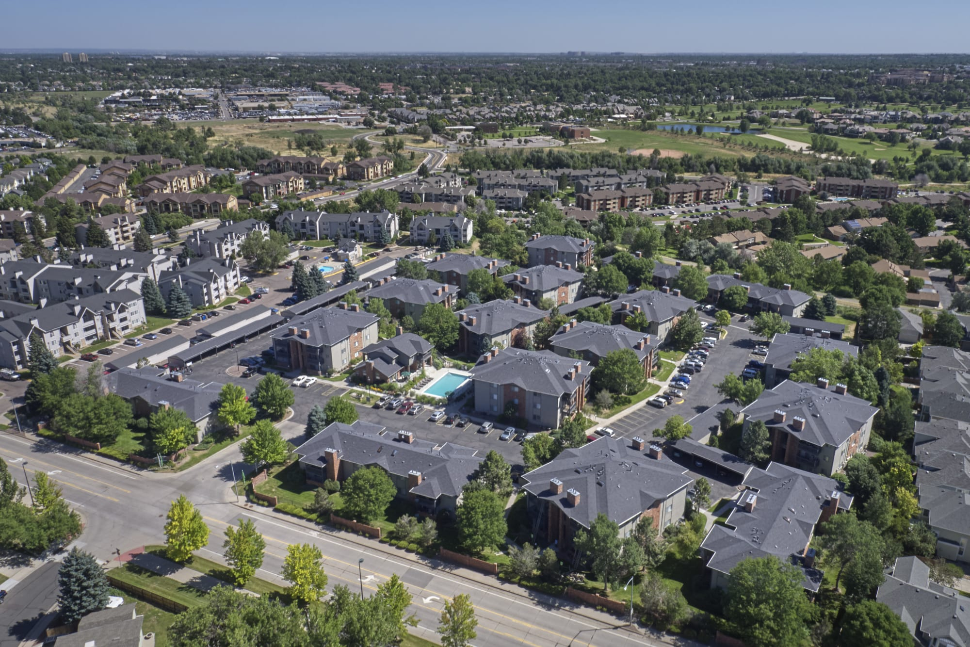 aerial shot of property and surrounding areas at Arapahoe Club Apartments
