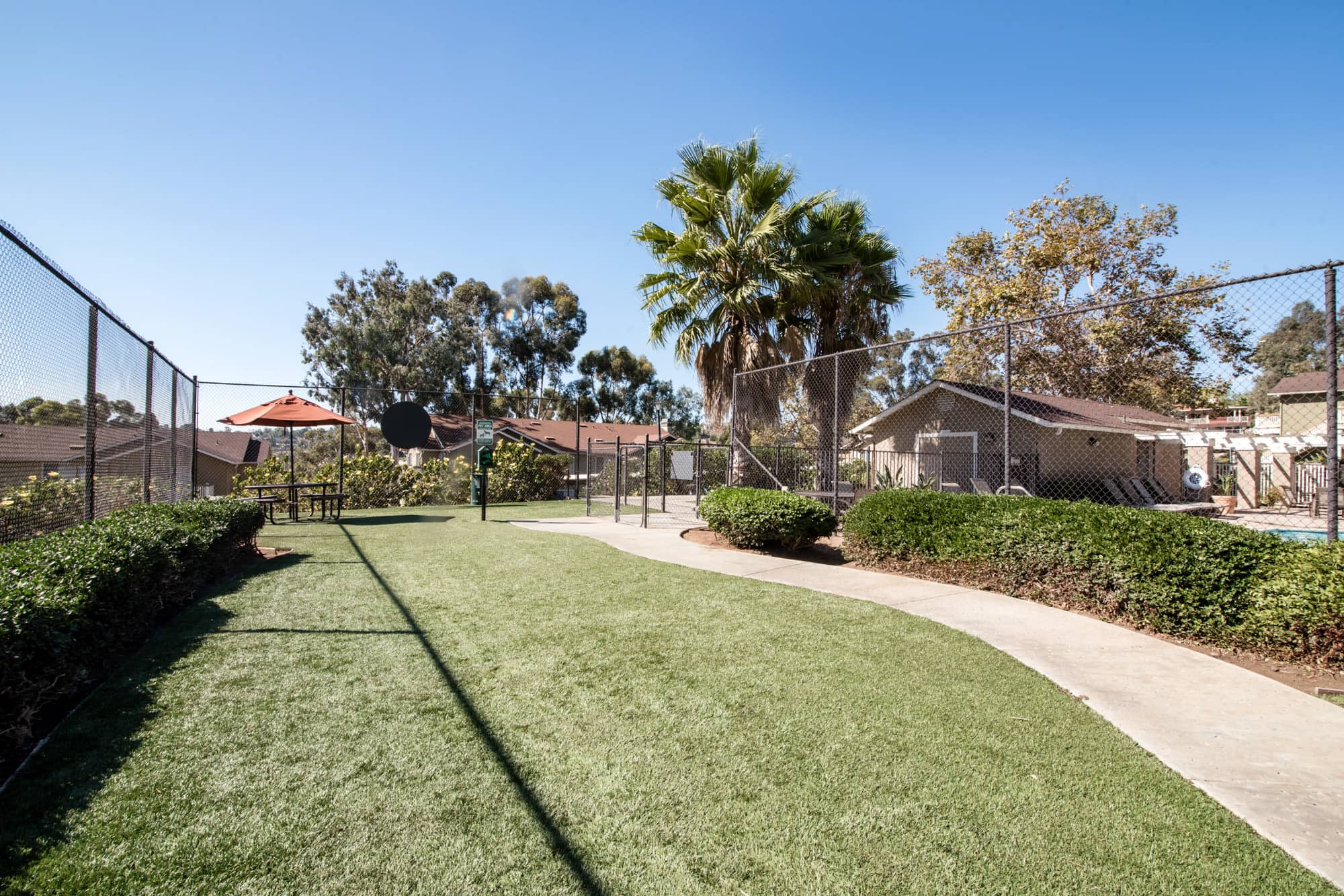 Off-leash dog park at Lakeview Village Apartments in Spring Valley, California