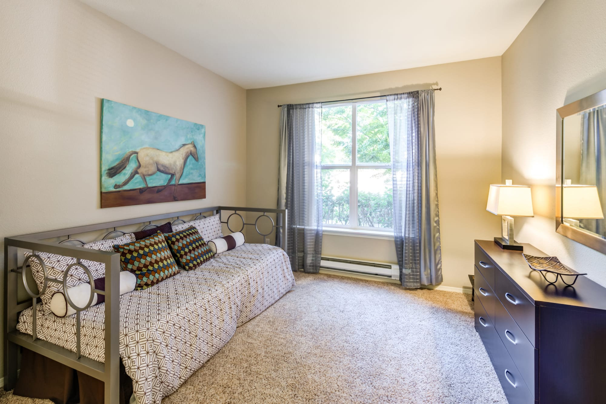 Guest bedroom at HighGrove Apartments in Everett, WA