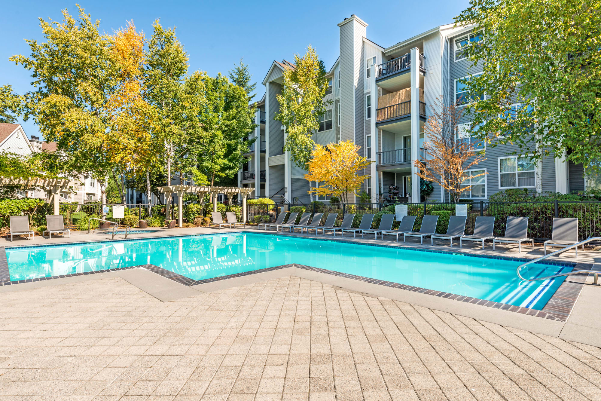 Expansive Pool Deck at HighGrove Apartments in Everett, WA