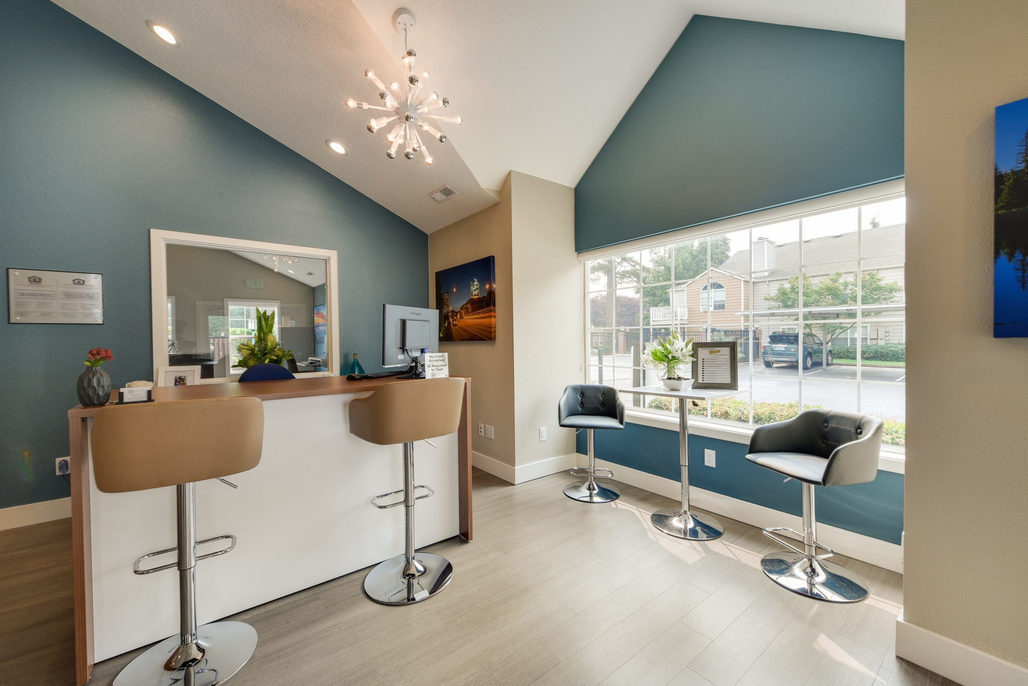 The newly renovated leasing office at Carriage Park Apartments in Vancouver, Washington