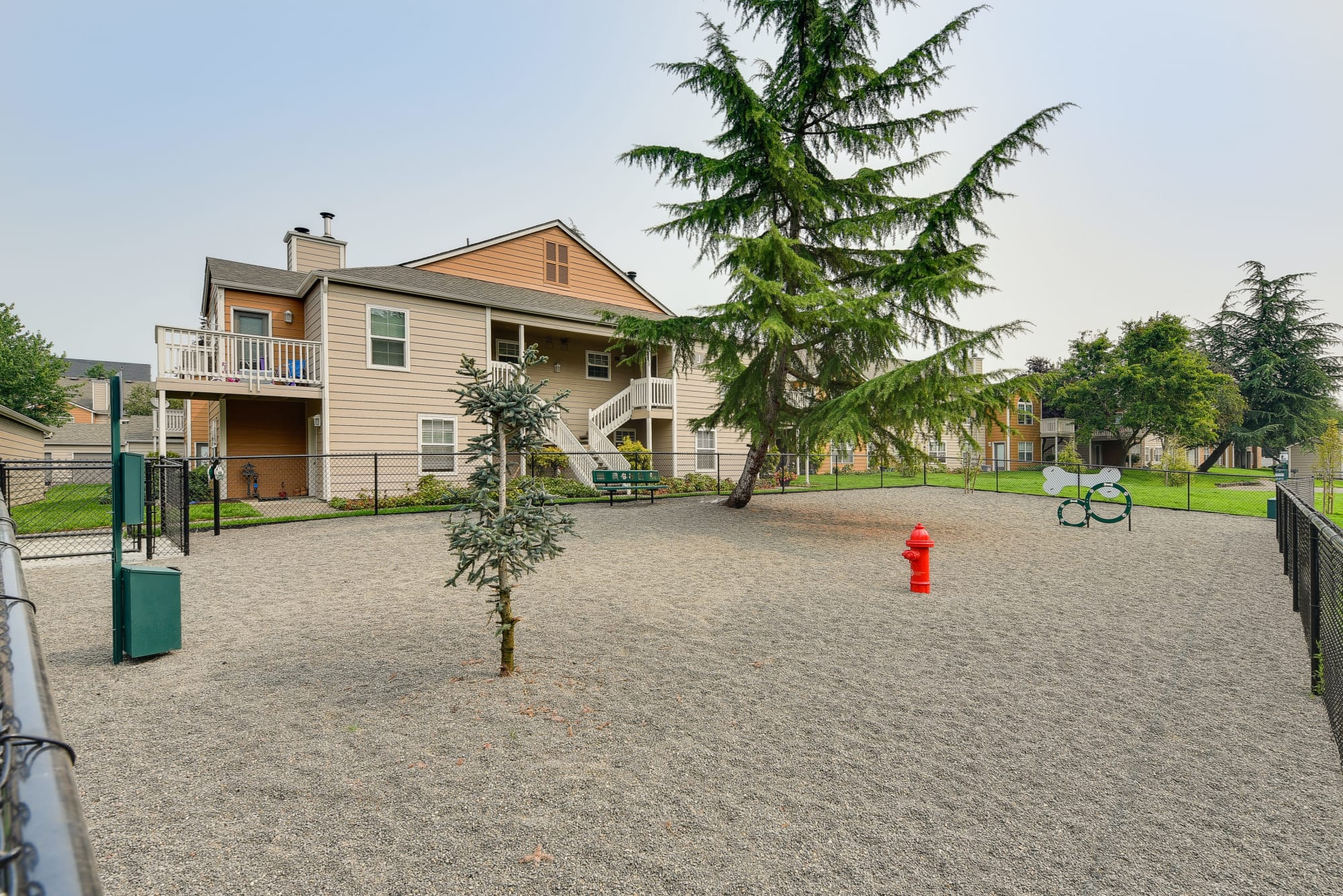 The onsite dog park at Carriage Park Apartments in Vancouver, Washington