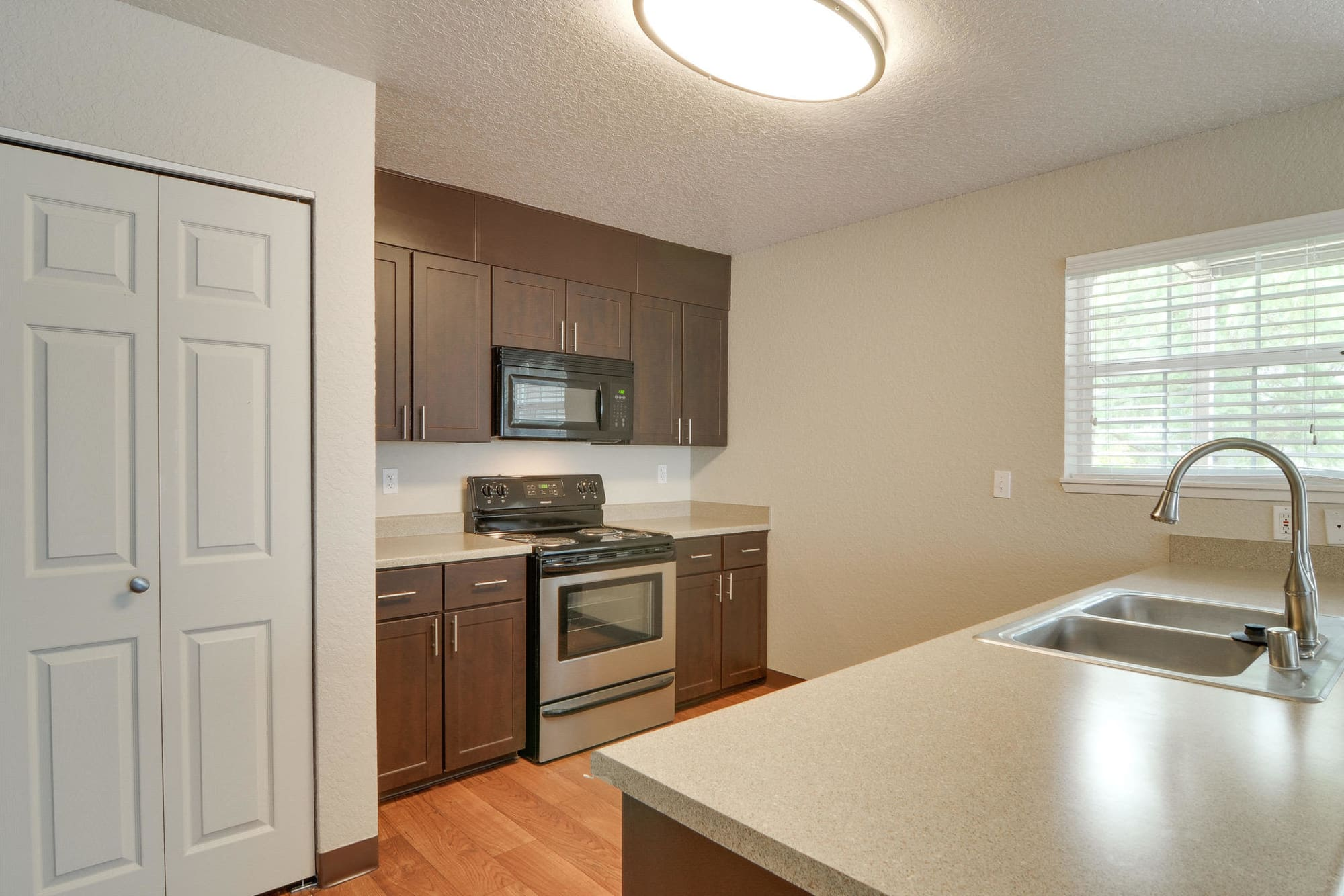 Well organized kitchen at Carriage Park Apartments in Vancouver, WA