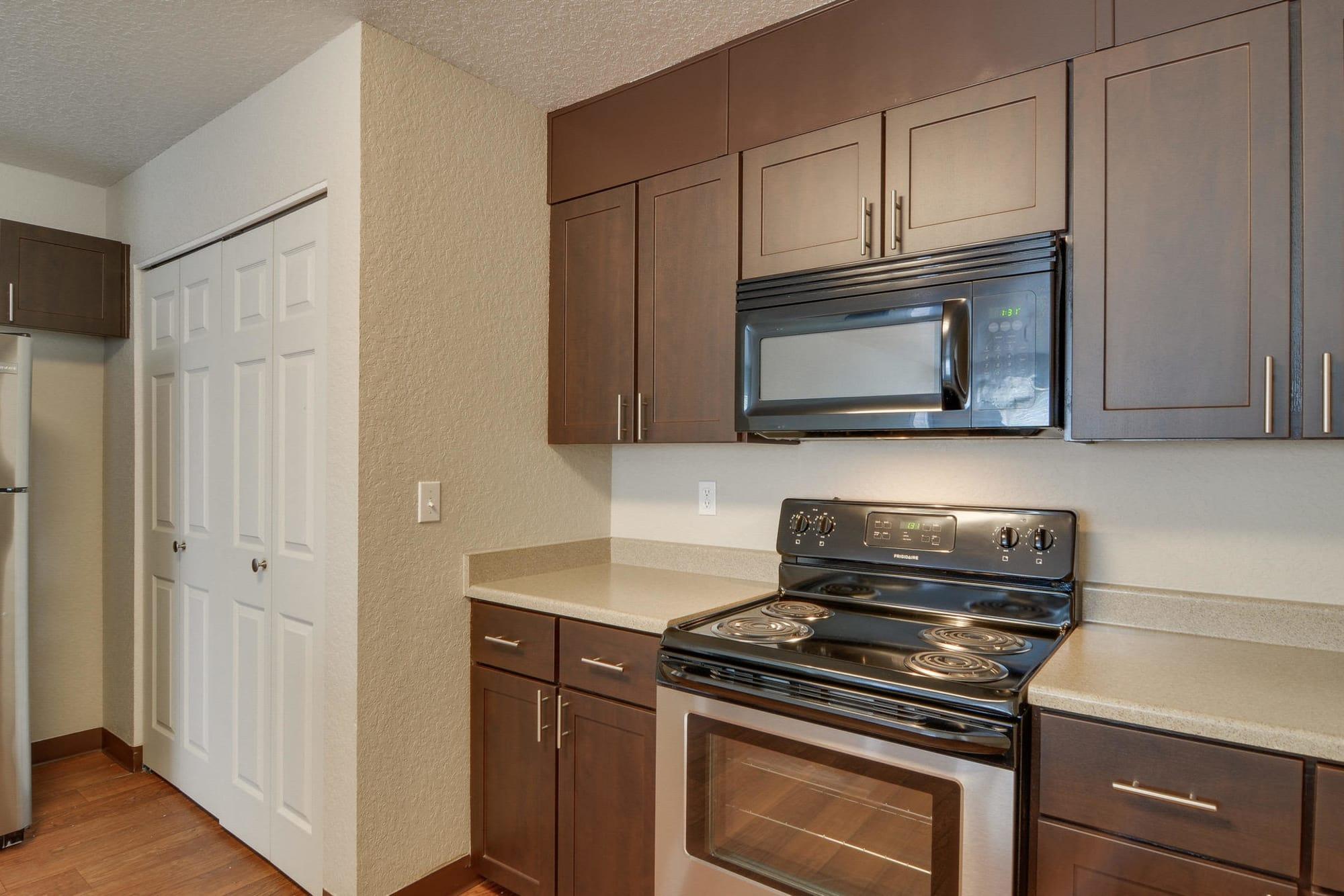 renovated brown kitchen shot