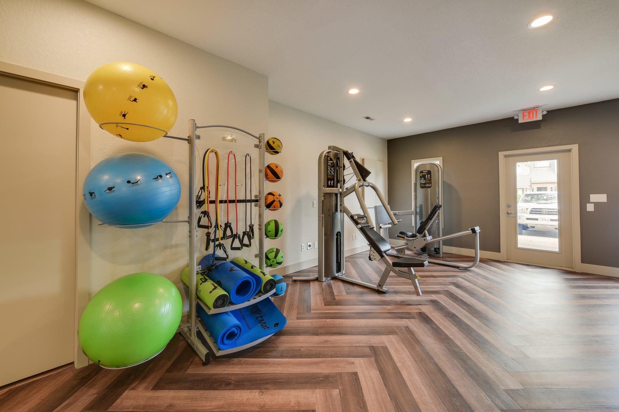 Fully equipped fitness center at Carriage House Apartments in Vancouver, Washington