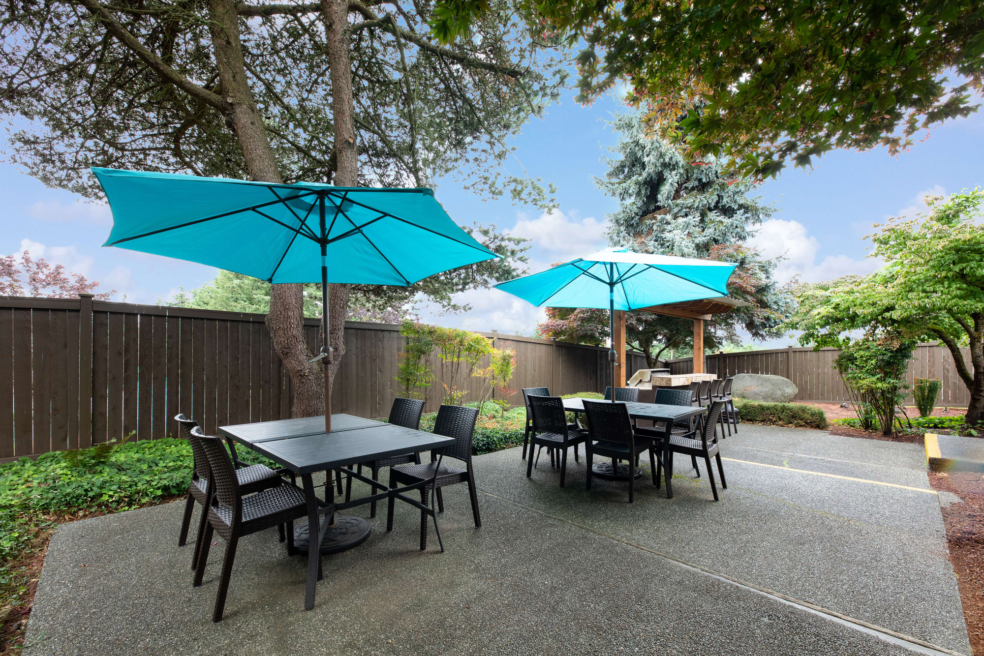 common area courtyard with chairs and umbrellas  Of Latitude Apartments