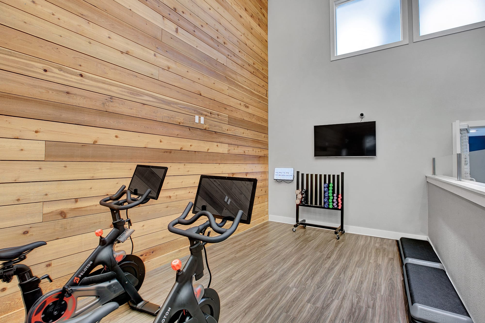 Fitness Center With A variety Of Equipment At Waters Edge Apartments