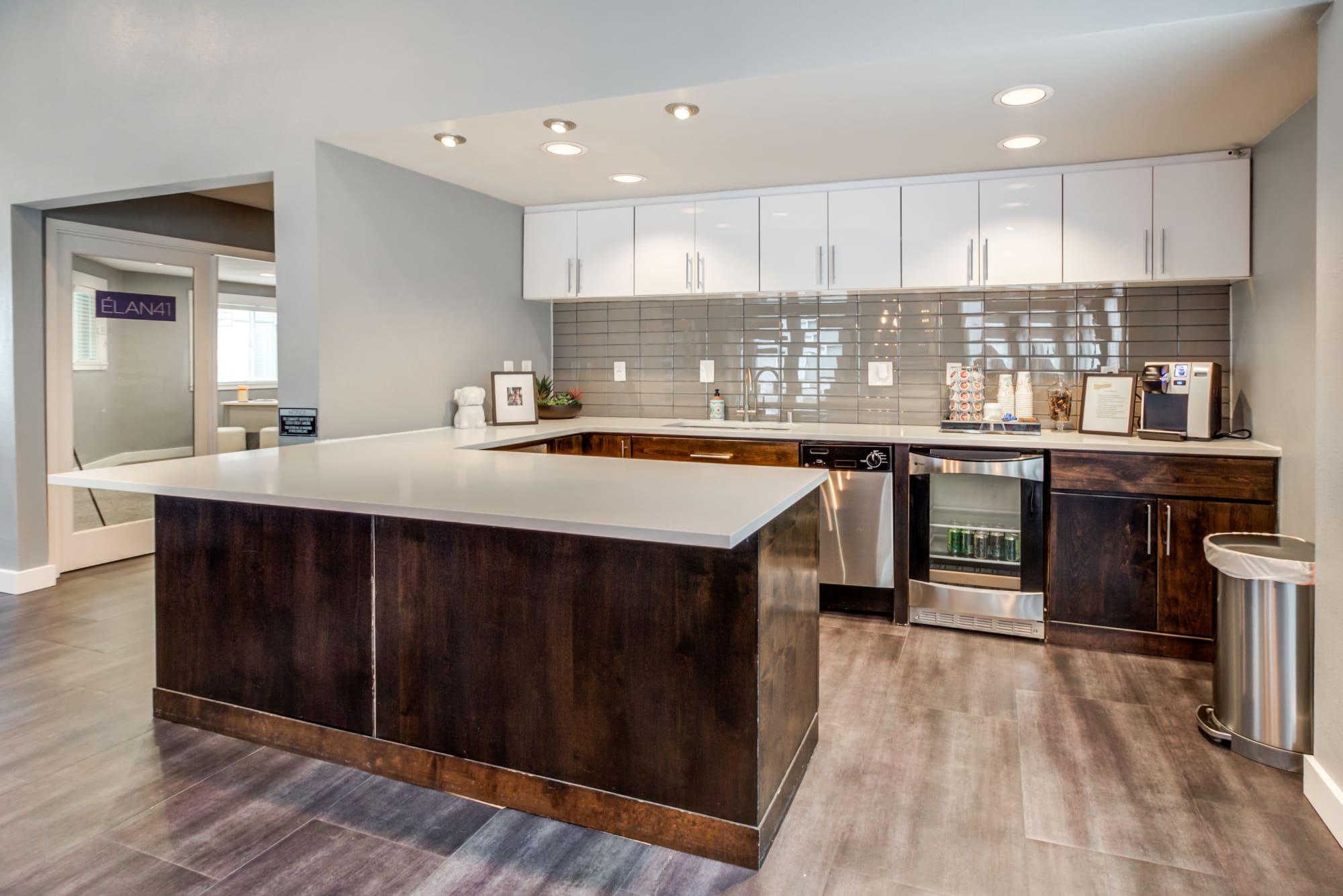 Clubhouse Kitchen at Elan 41 Apartments in Seattle, WA