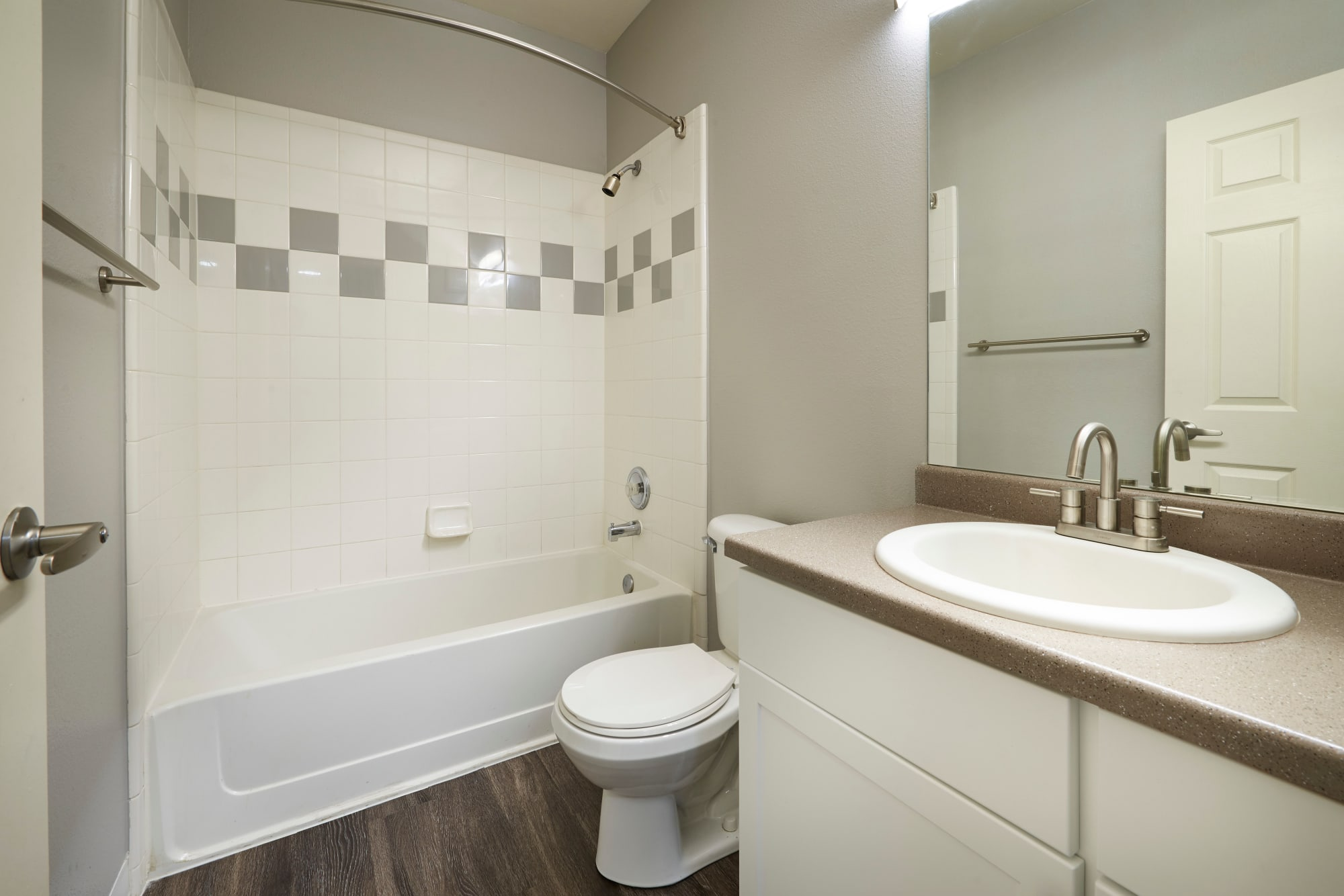 bathroom and tub at Westridge Apartments in Aurora, CO