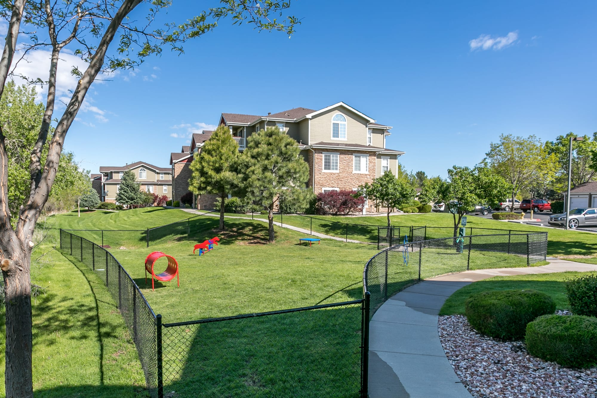 Dog park at Westridge Apartments in Aurora, CO
