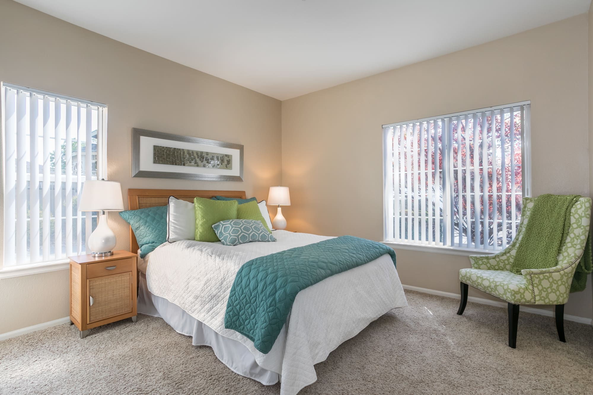 Well Decorated Bedroom at Westridge Apartments in Aurora, CO