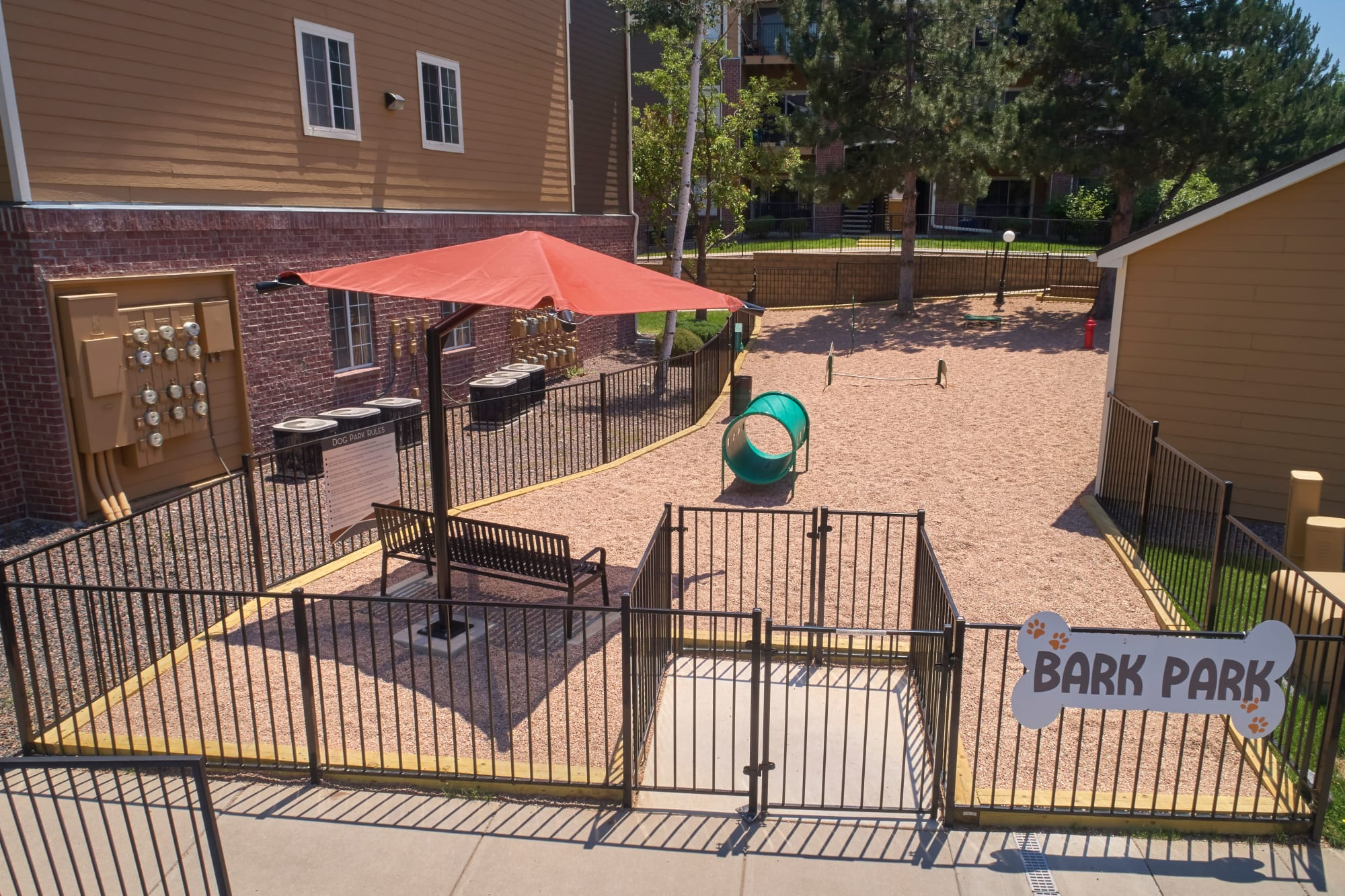 The dog park at The Crossings at Bear Creek Apartments in Lakewood, Colorado