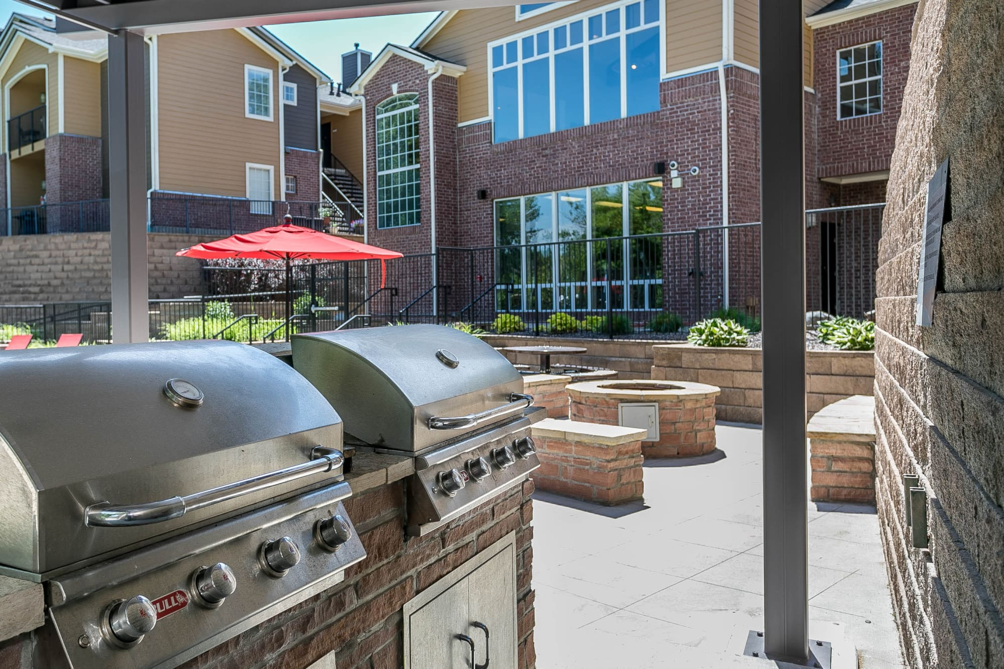 poolside covered outdoor BBQs