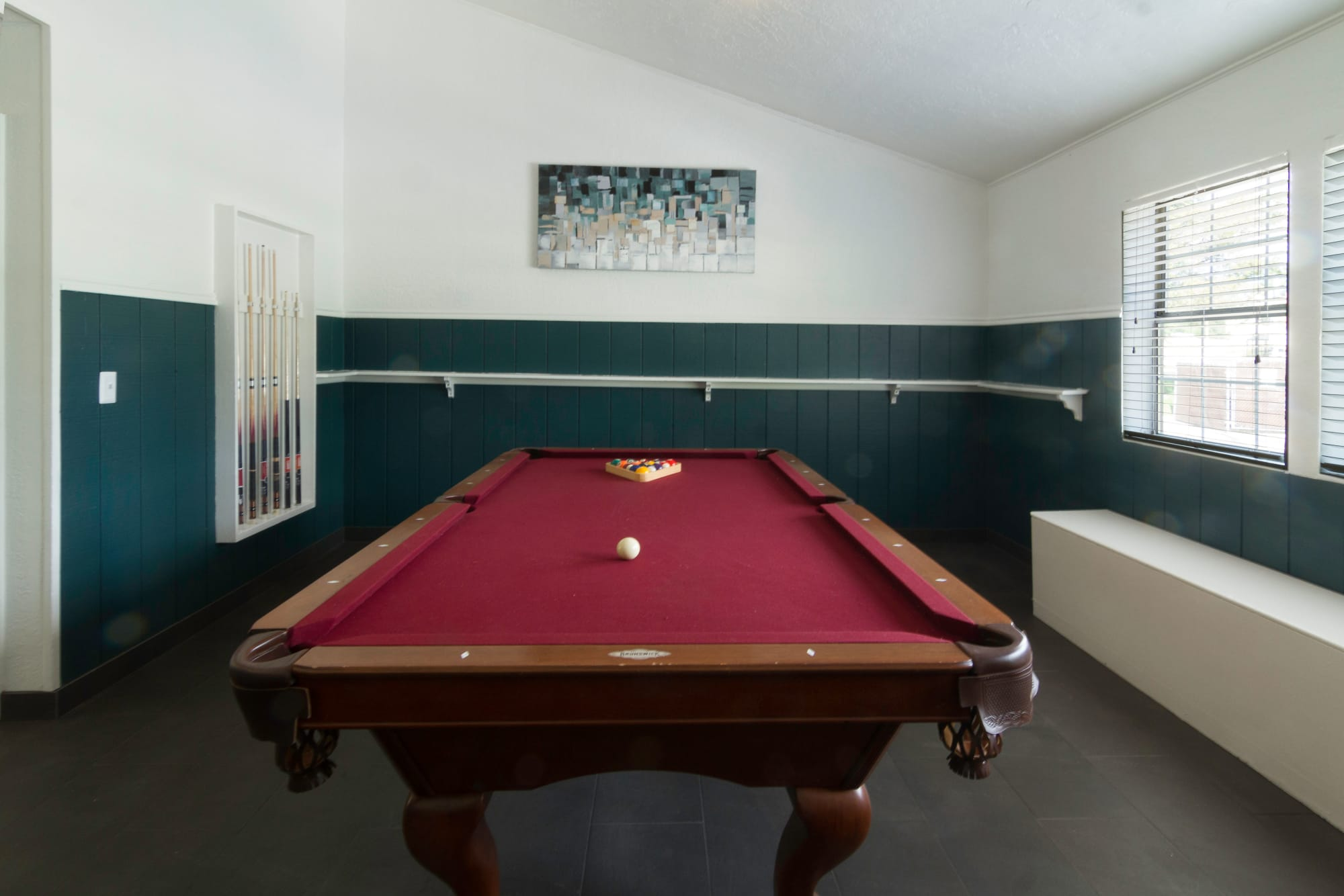 A pool table in the community center at Callaway Apartments in Taylorsville, Utah