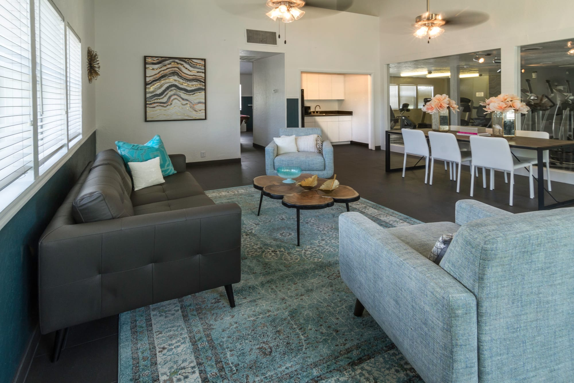 Comfy lounger sofa in the clubhouse at Callaway Apartments in Taylorsville, Utah
