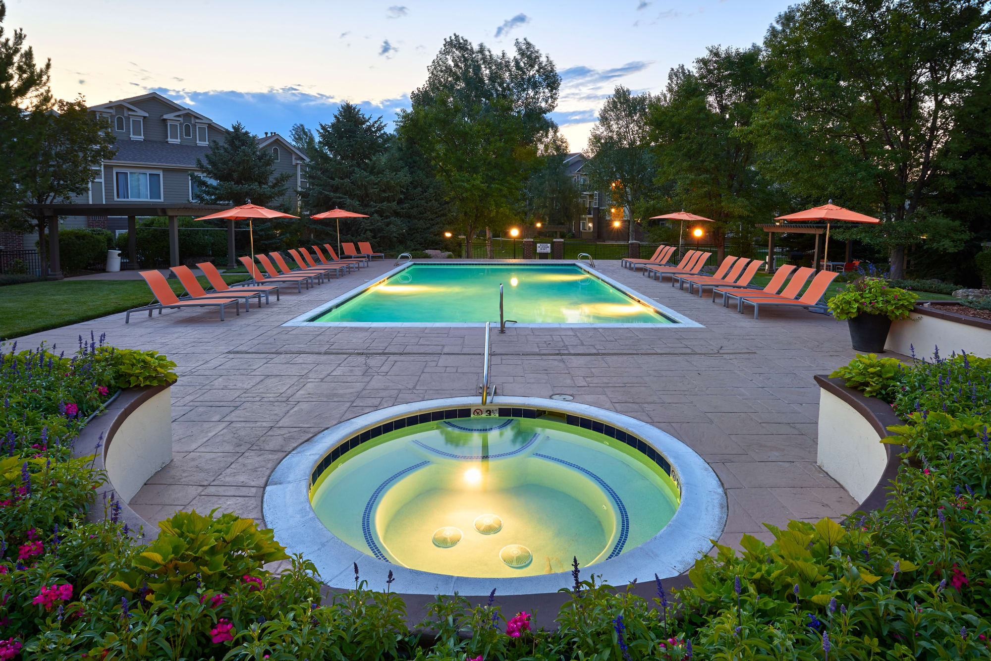 spa and pool at sunset at Legend Oaks Apartments