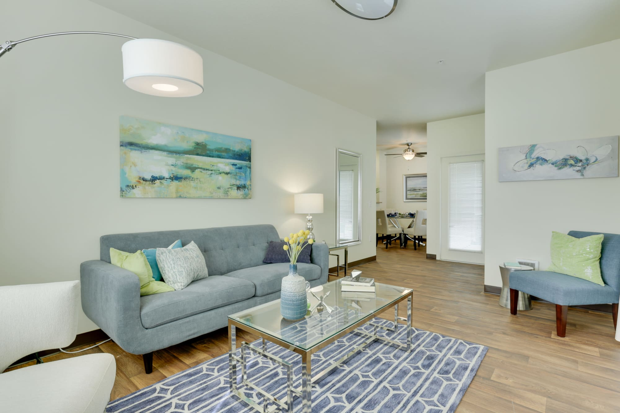 Model living room In A The Landings at Morrison Apartments Apartment Home