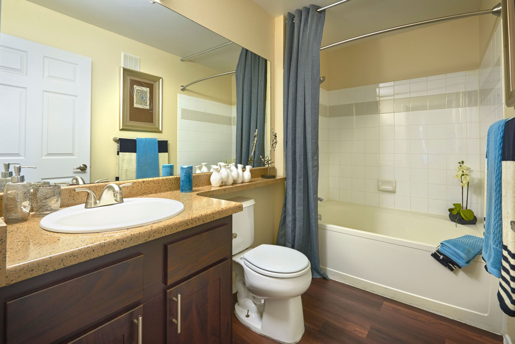 Renovated bathroom at Promenade at Hunter's Glen Apartments in Thornton, Colorado