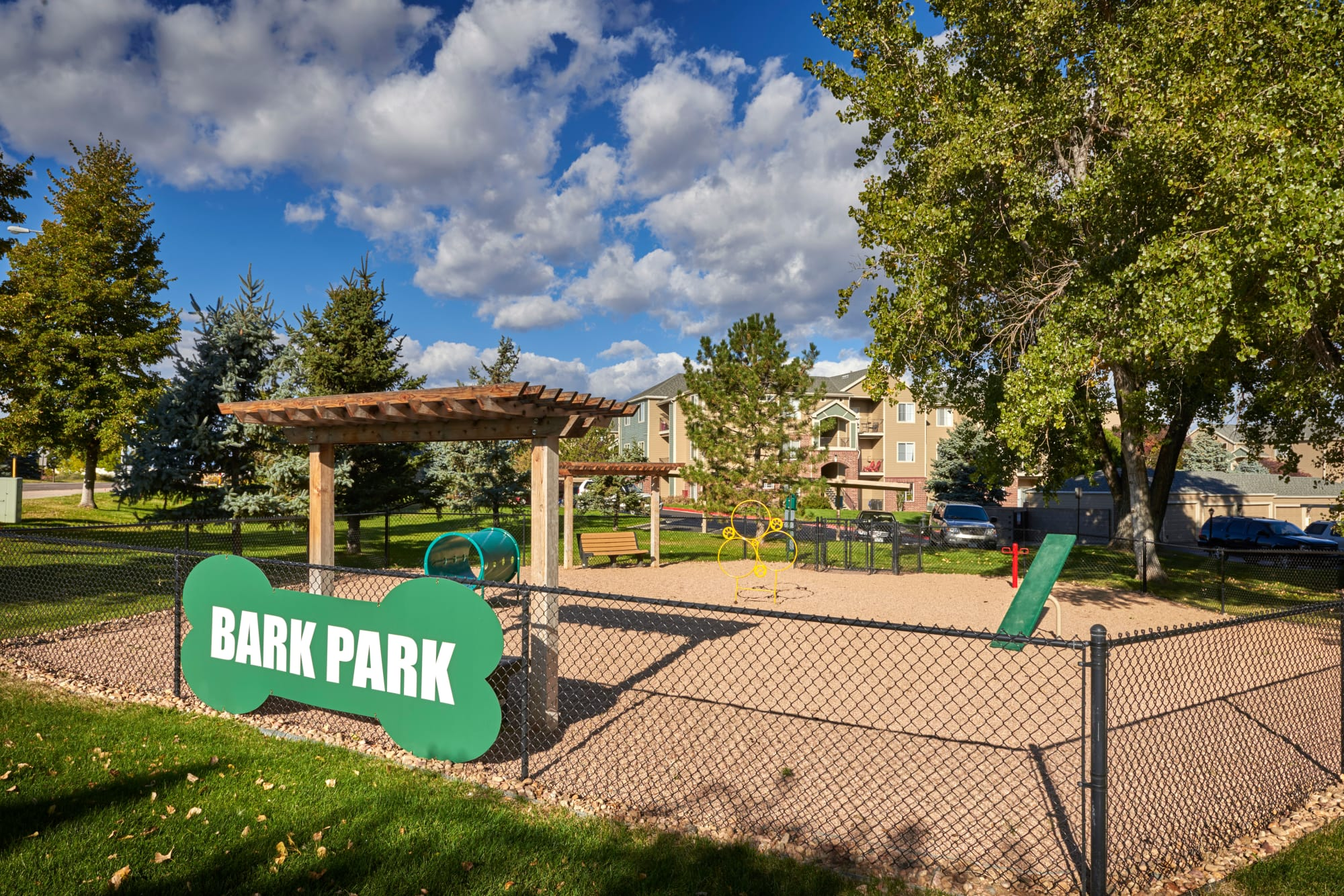 off-leash dog park at Promenade at Hunter's Glen Apartments