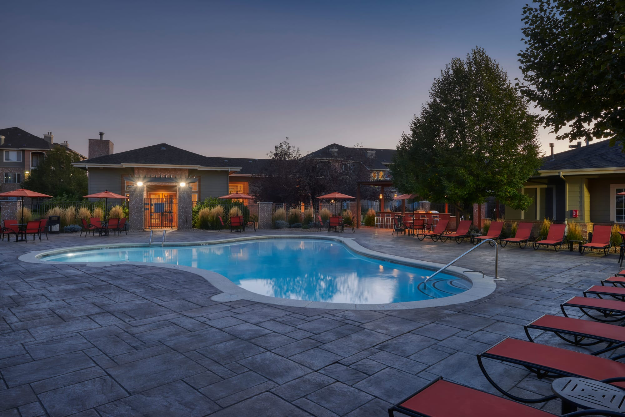 Pool Resort Style at sunrise at Hawthorne Hill Apartments