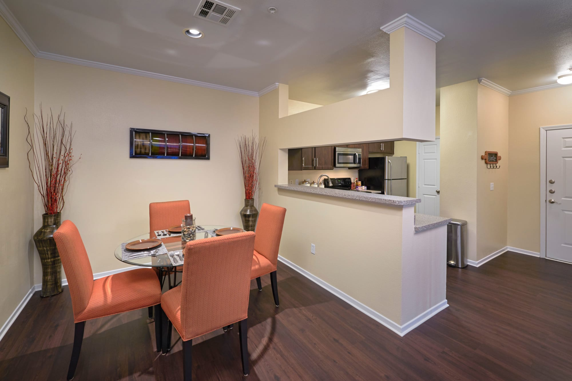 dining room with kitchen view At Hawthorne Hill Apartments