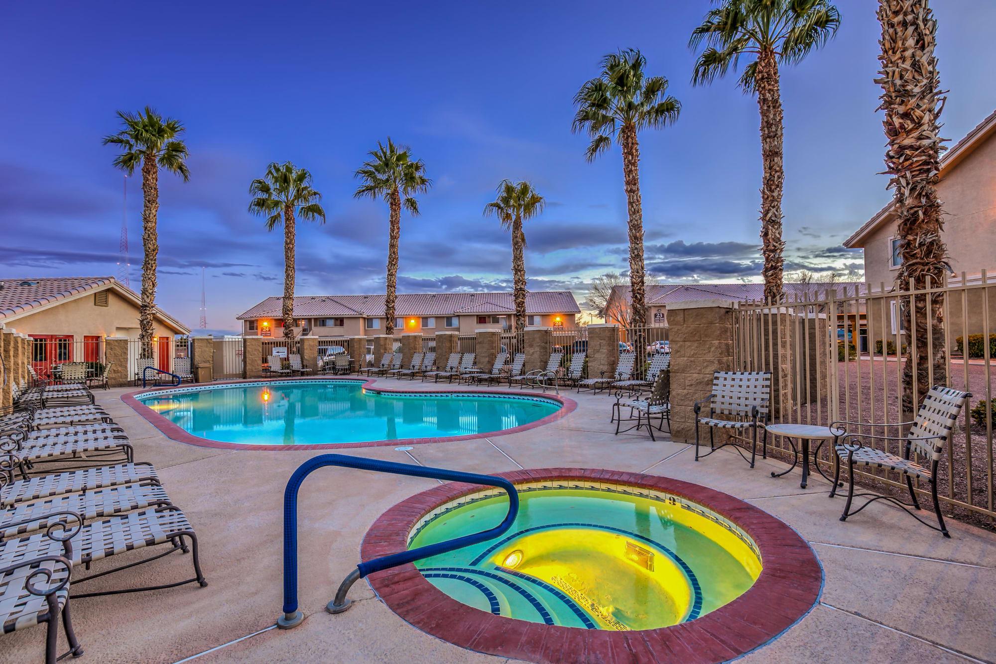 Pool at dusk at Portola Del Sol in Las Vegas