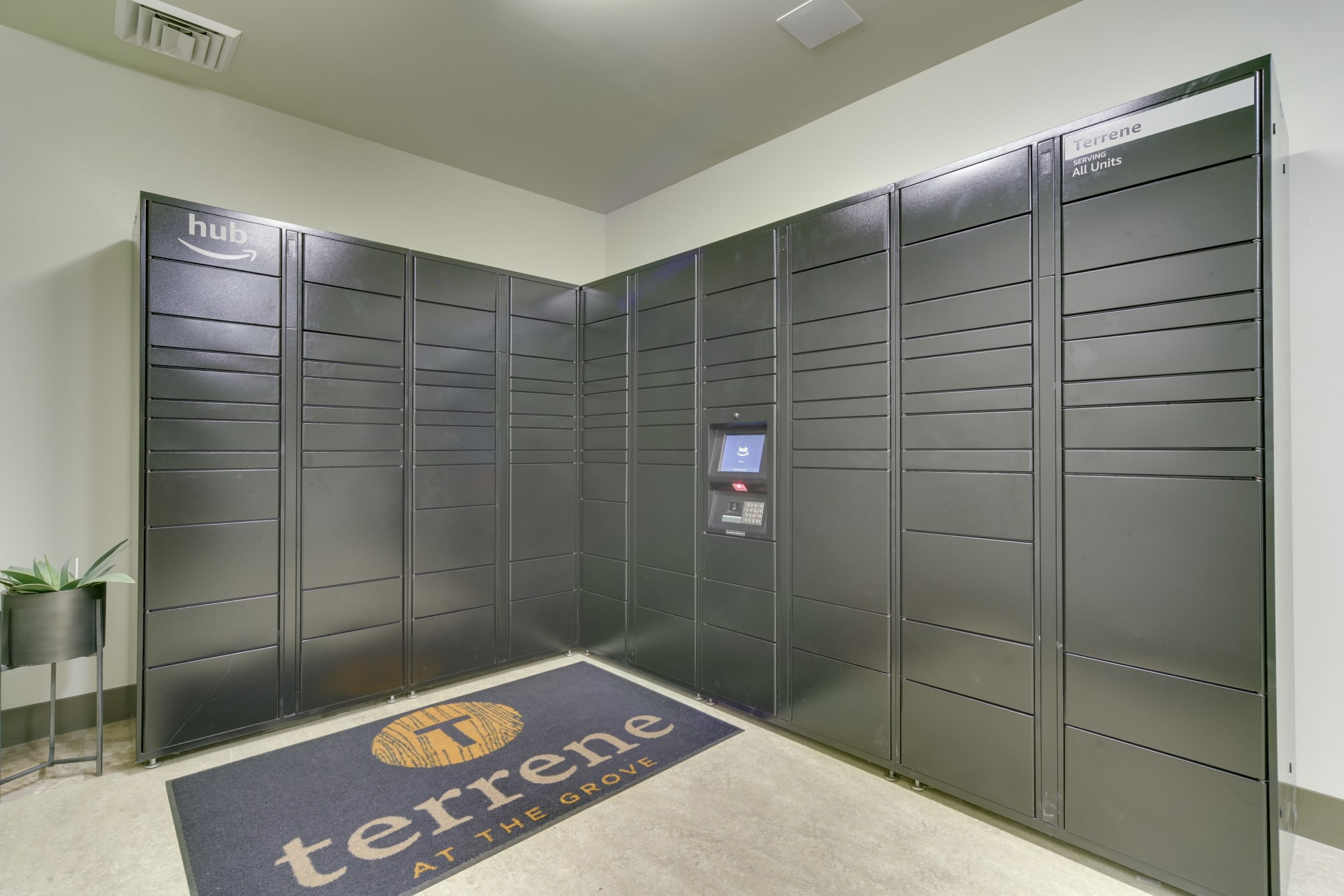 24-Hour package lockers at Terrene at the Grove