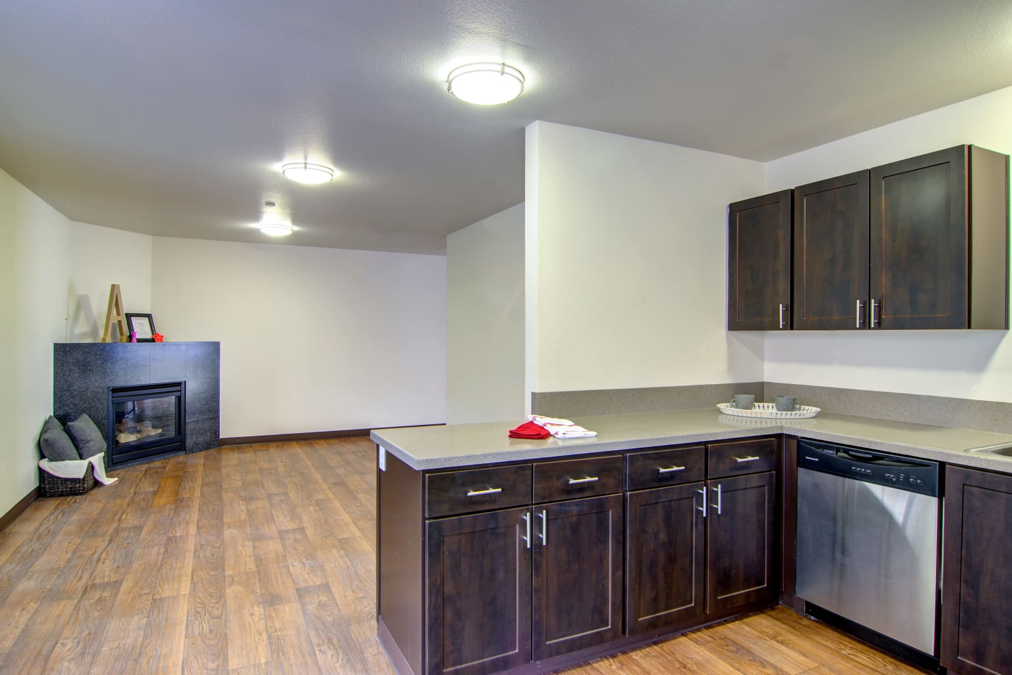 brown Kitchen renovation and fireplace at The Addison Apartments