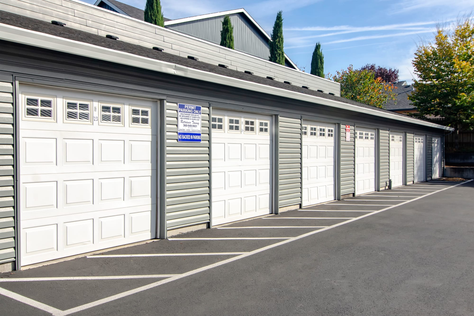 Garages at The Addison Apartments in Vancouver, Washington