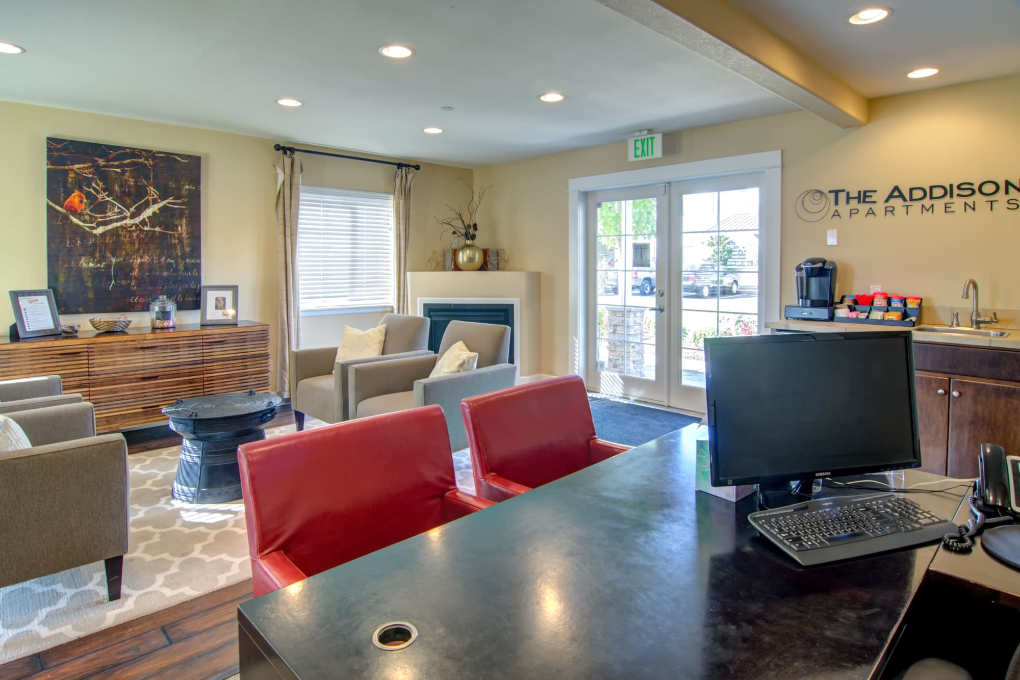Interior of the office and clubhouse at The Addison Apartments in Vancouver, Washington