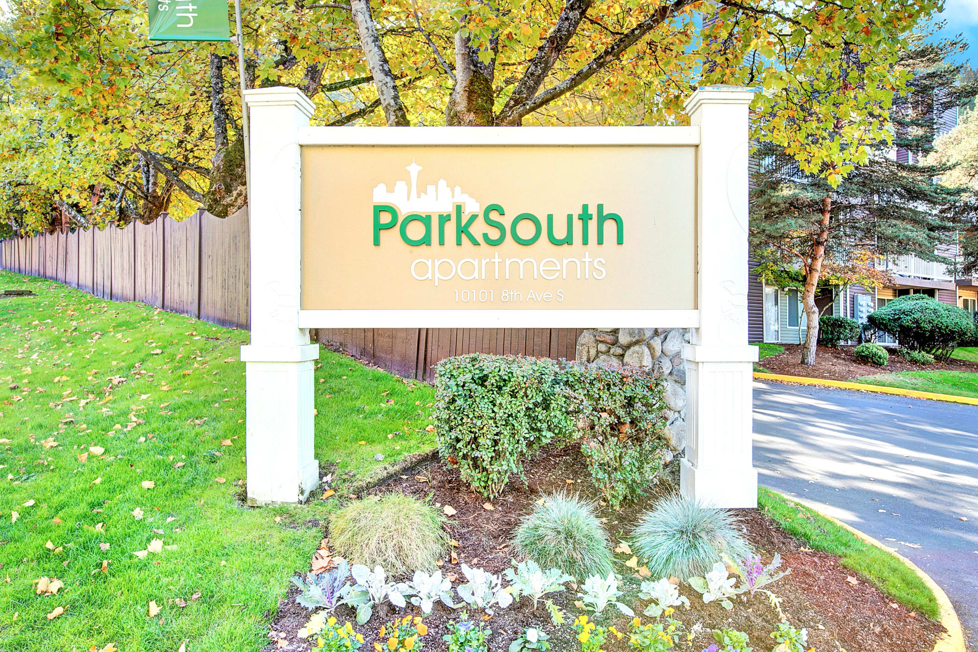 Monument sign at Park South Apartments in Seattle, Washington
