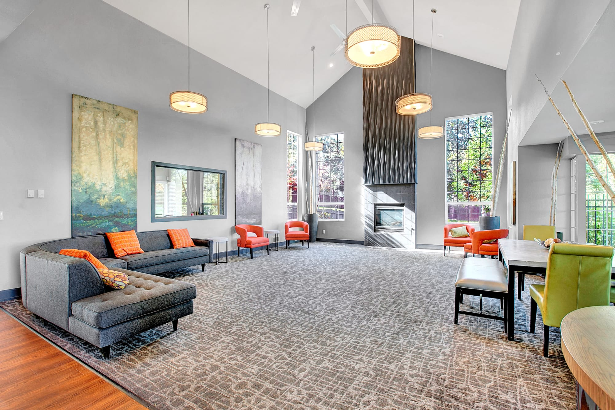 Clubhouse lounge area at Park South Apartments in Seattle, Washington