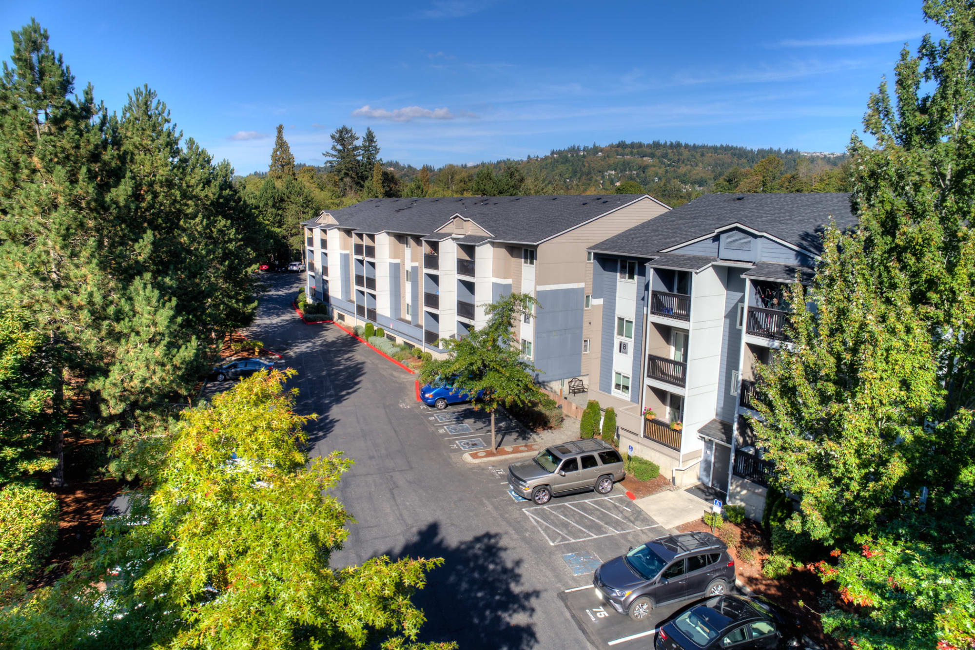 An aerial view of Karbon Apartments in Newcastle, Washington