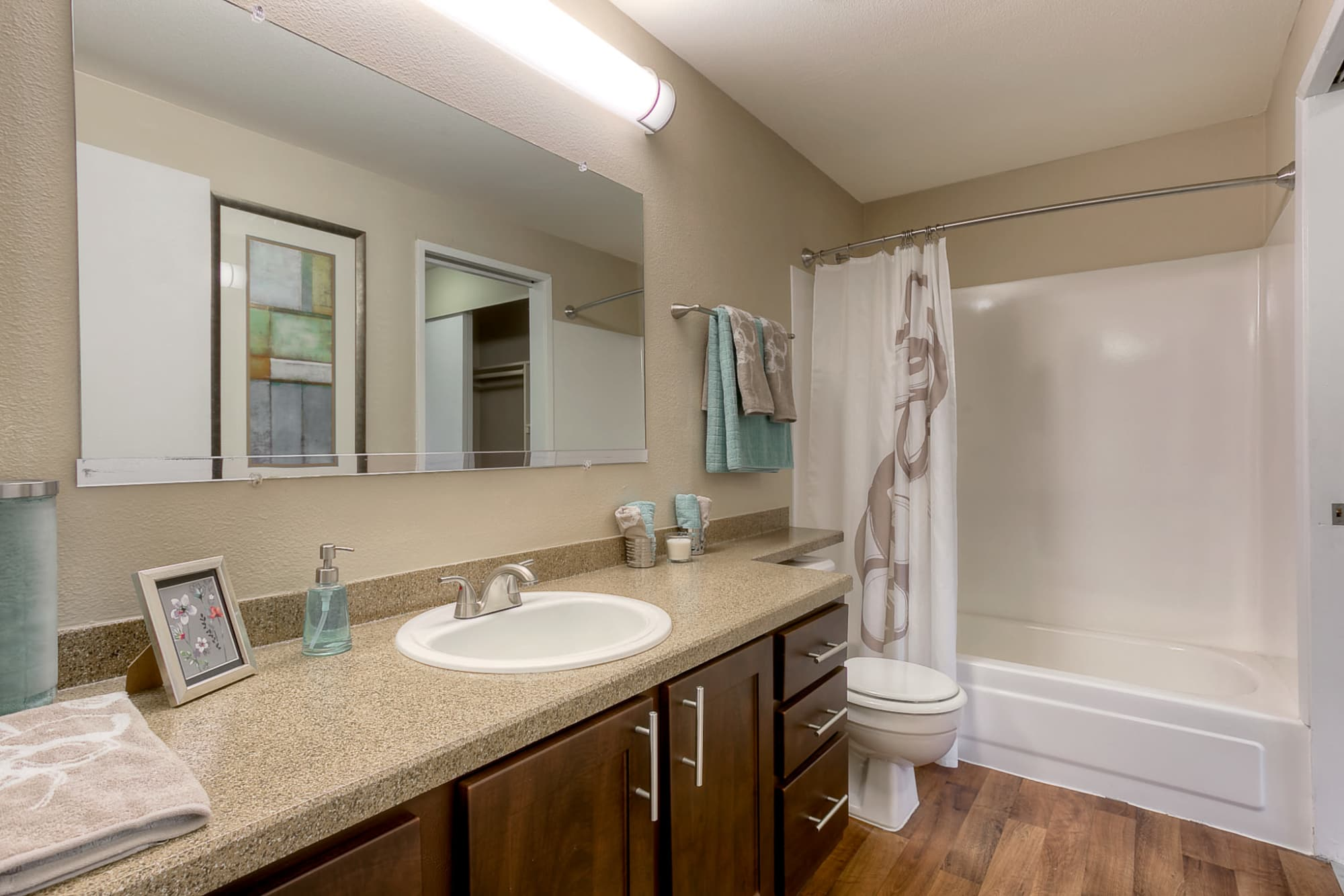 Bathroom with ample counter space at Park South Apartments in Seattle, Washington