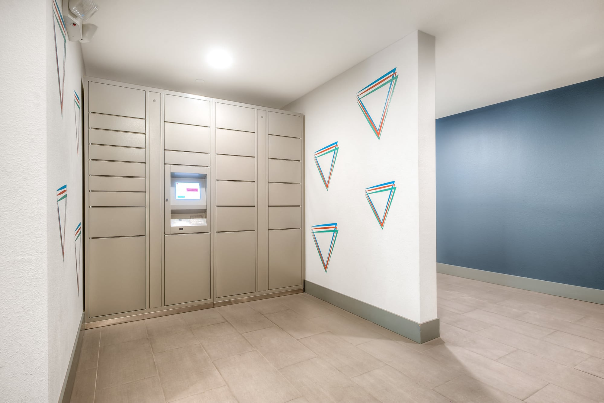 Package lockers at Tria Apartments in Newcastle