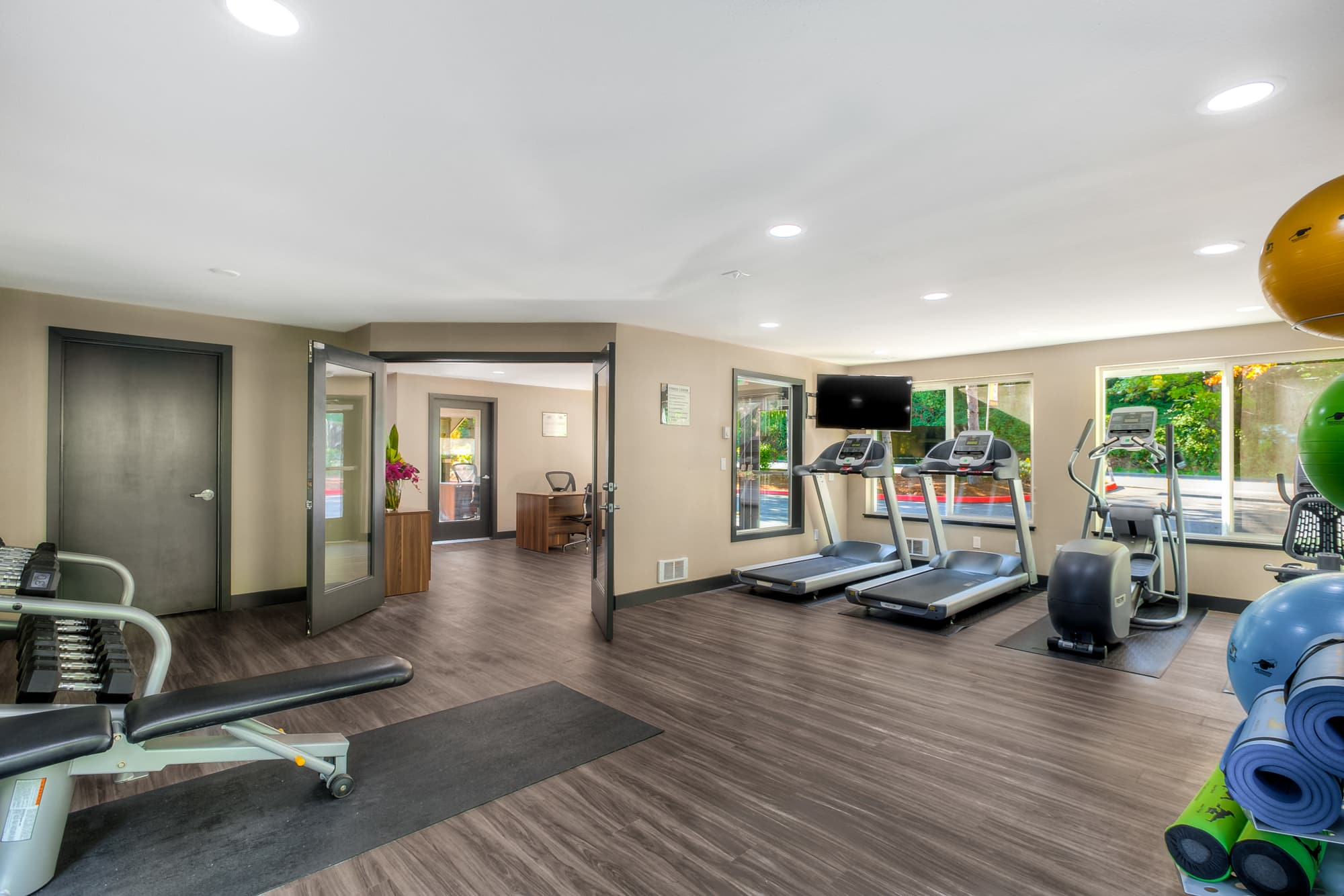 Renovated fitness center at Karbon Apartments in Newcastle, Washington