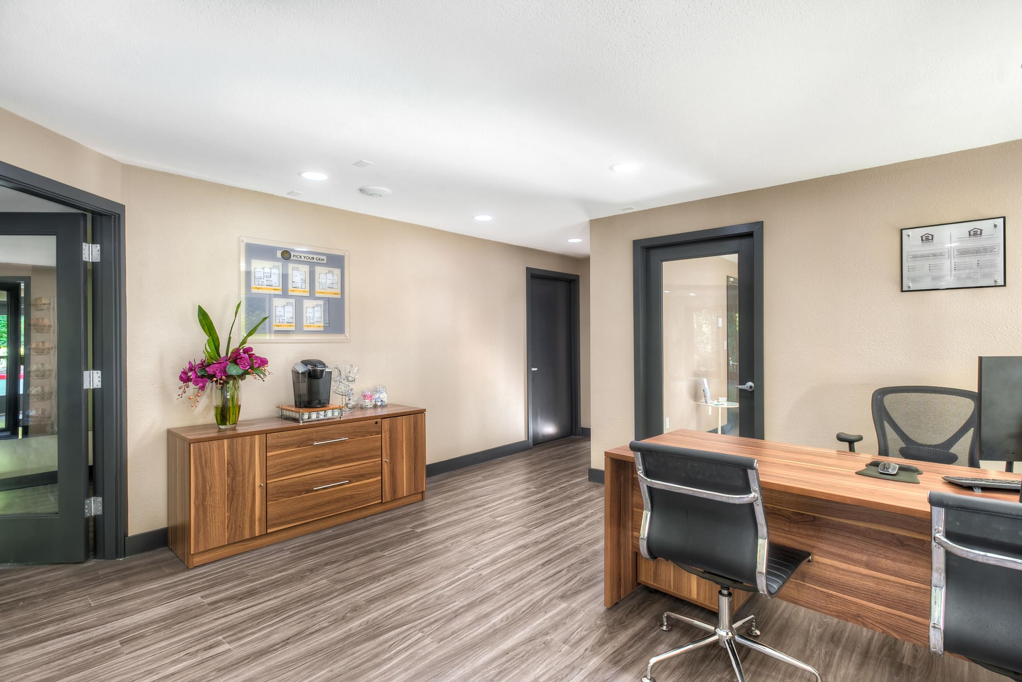 Recently renovated leasing office at Karbon Apartments in Newcastle, Washington