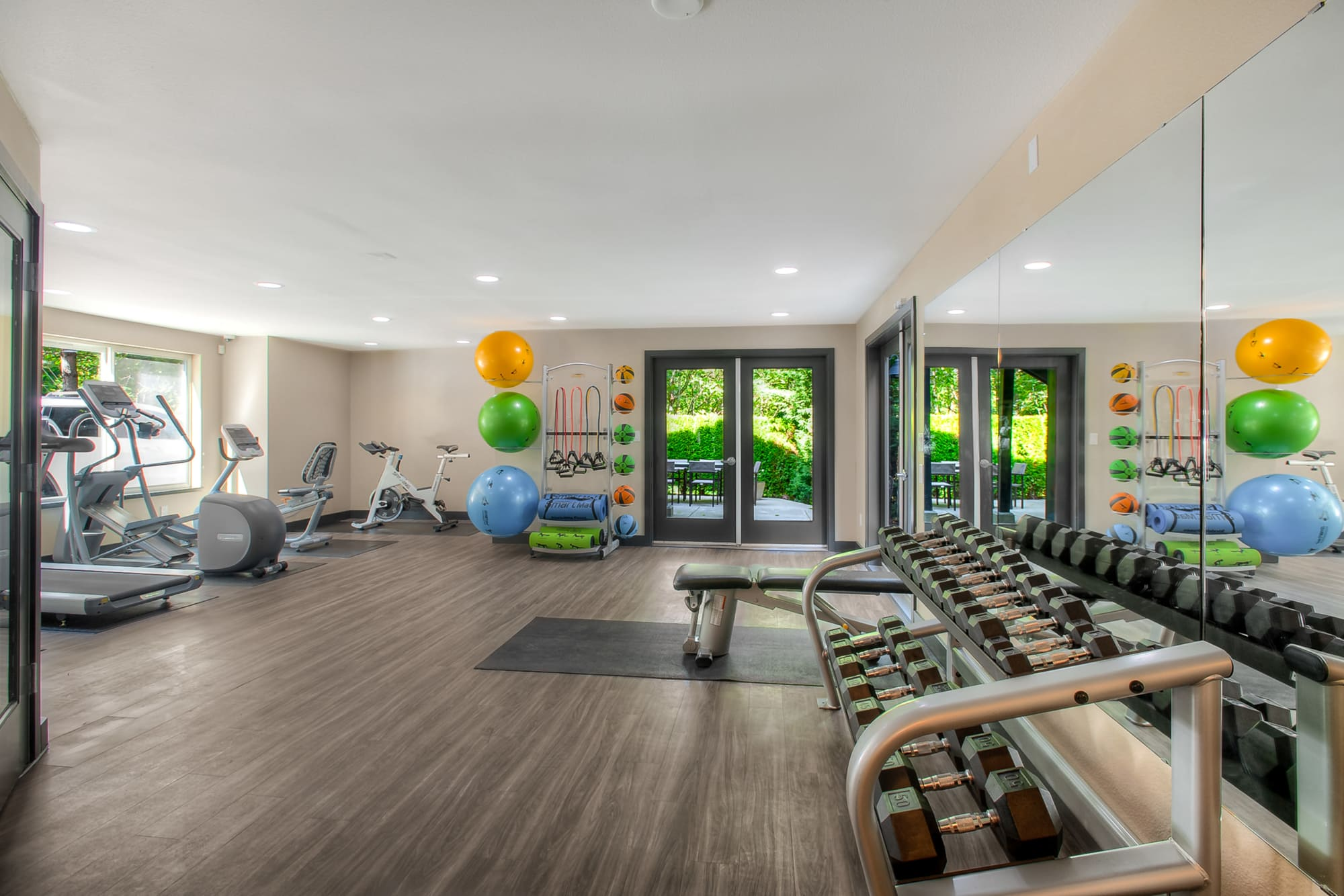 The fitness center at Karbon Apartments in Newcastle, Washington