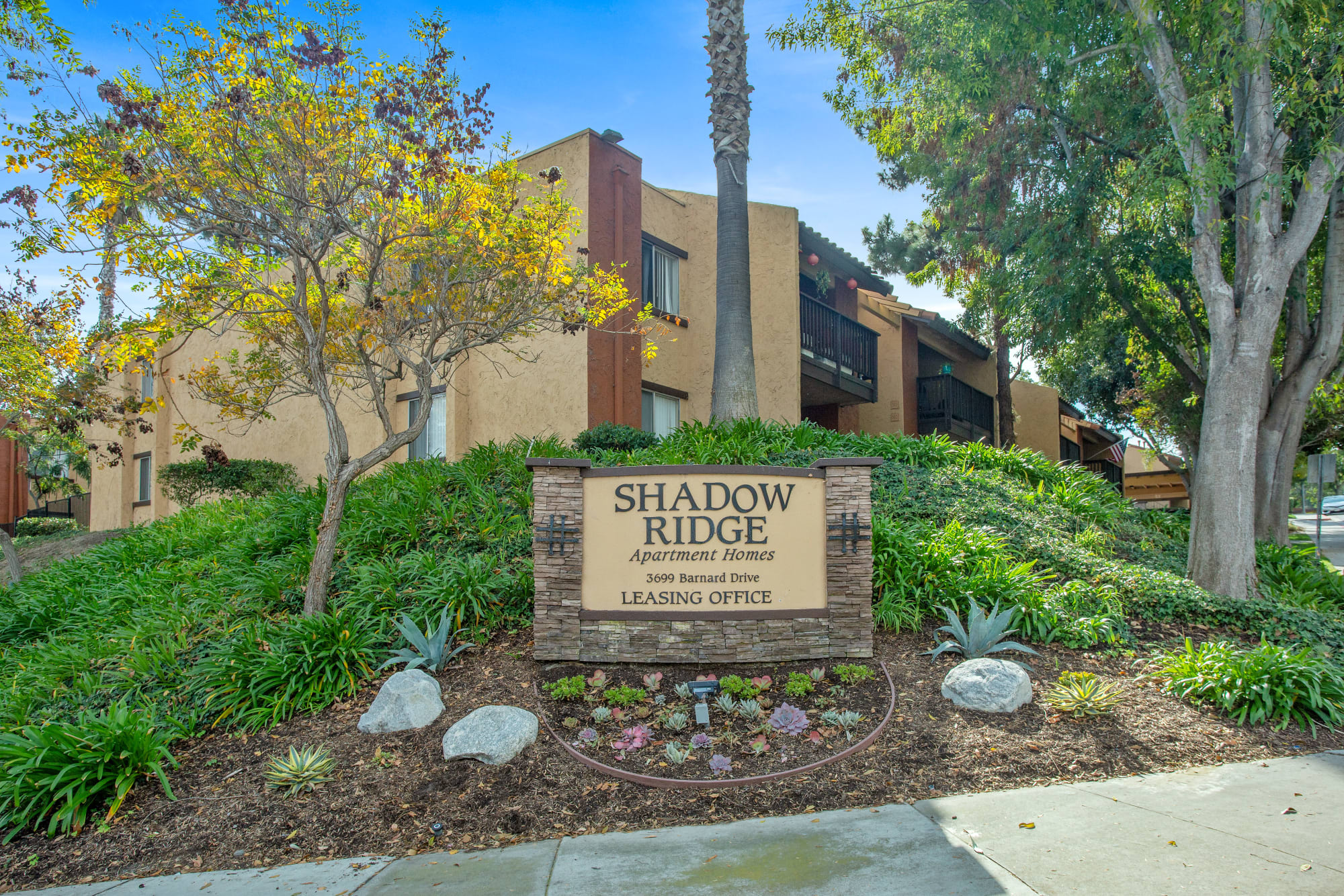 Entrance Sign at Shadow Ridge Apartments in Oceanside, CA