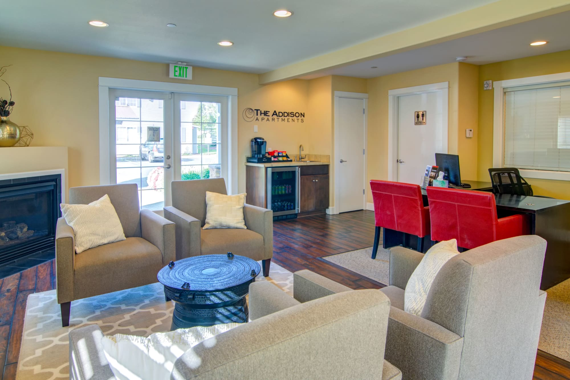 Clubhouse lounge at The Addison Apartments in Vancouver, Washington