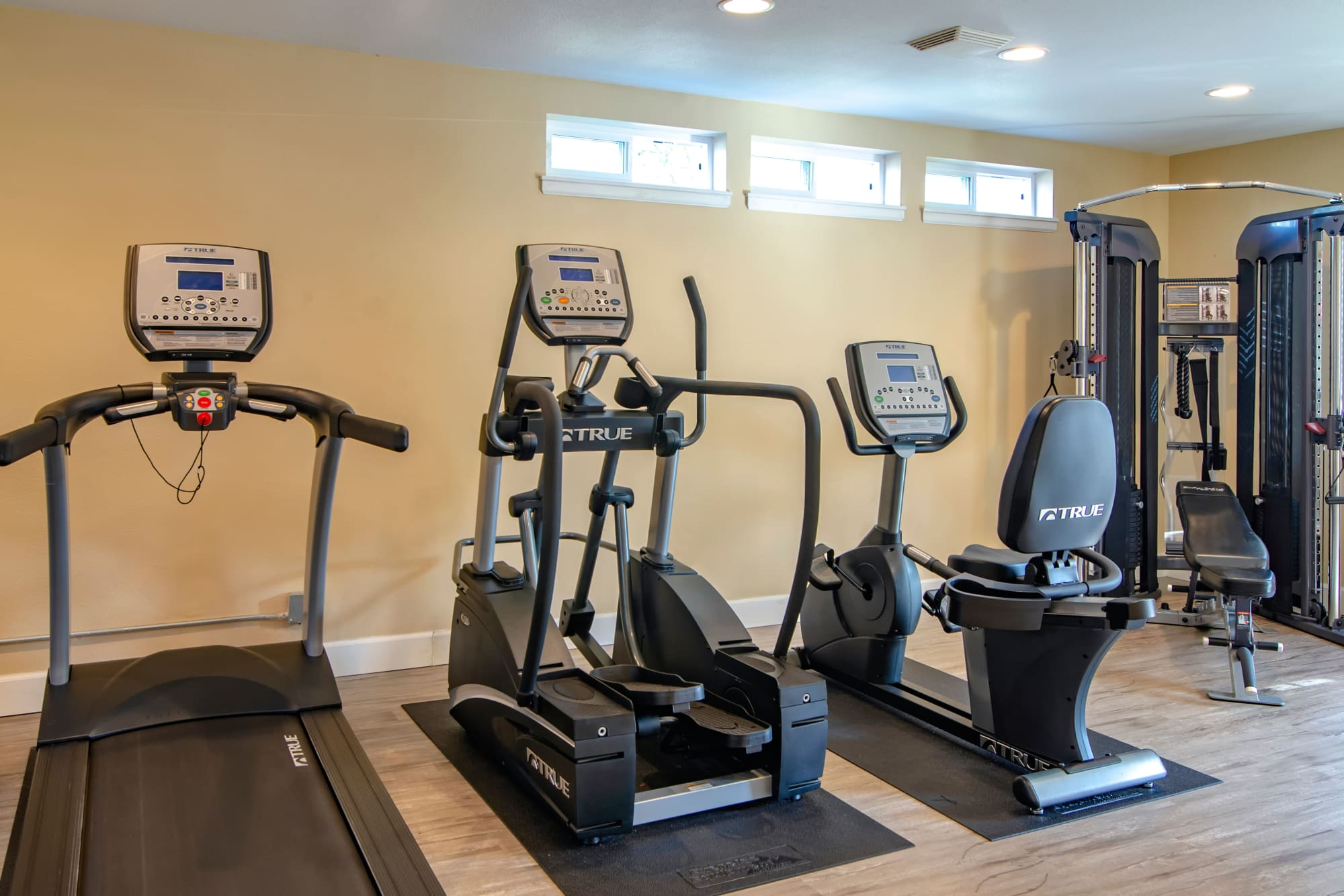 Fully equipped fitness center at The Addison Apartments in Vancouver, Washington