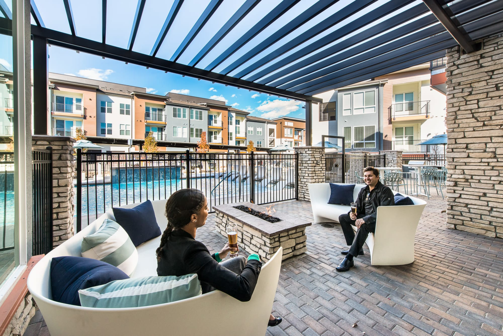 Lounge area by the pool at Elevate in Englewood, Colorado