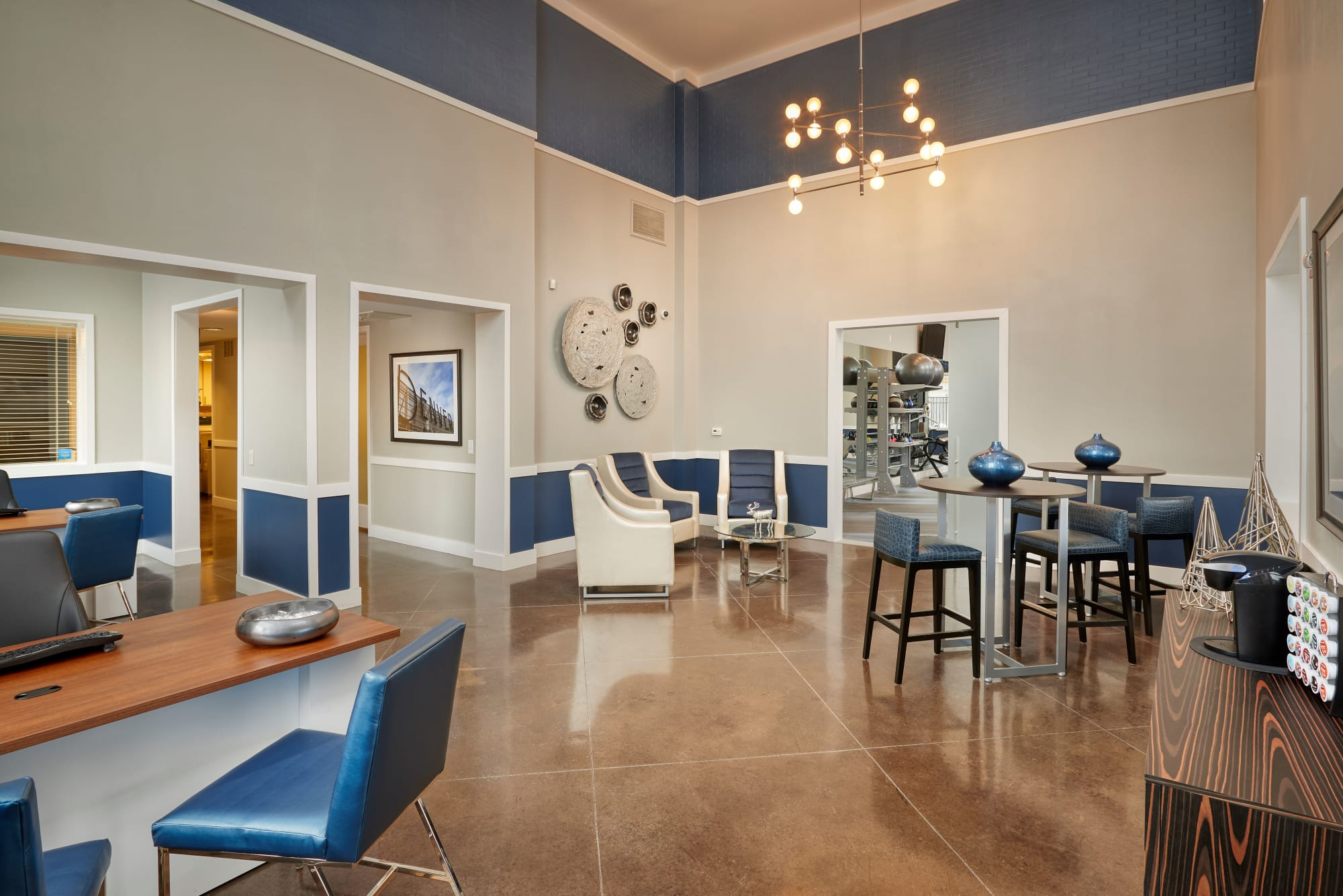 Renovated leasing office lounge at The Rail at Inverness in Englewood, Colorado
